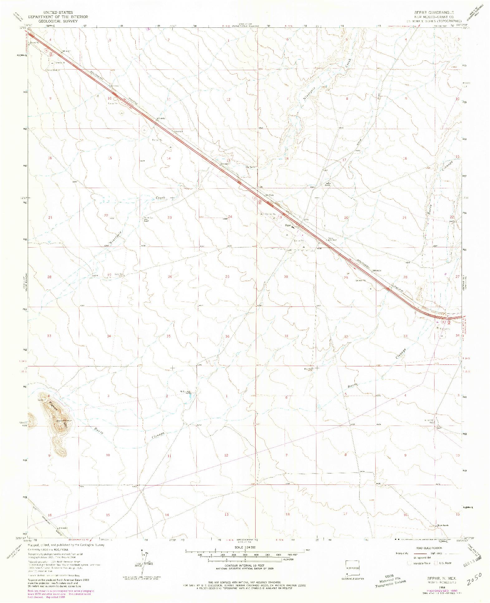 USGS 1:24000-SCALE QUADRANGLE FOR SEPAR, NM 1964