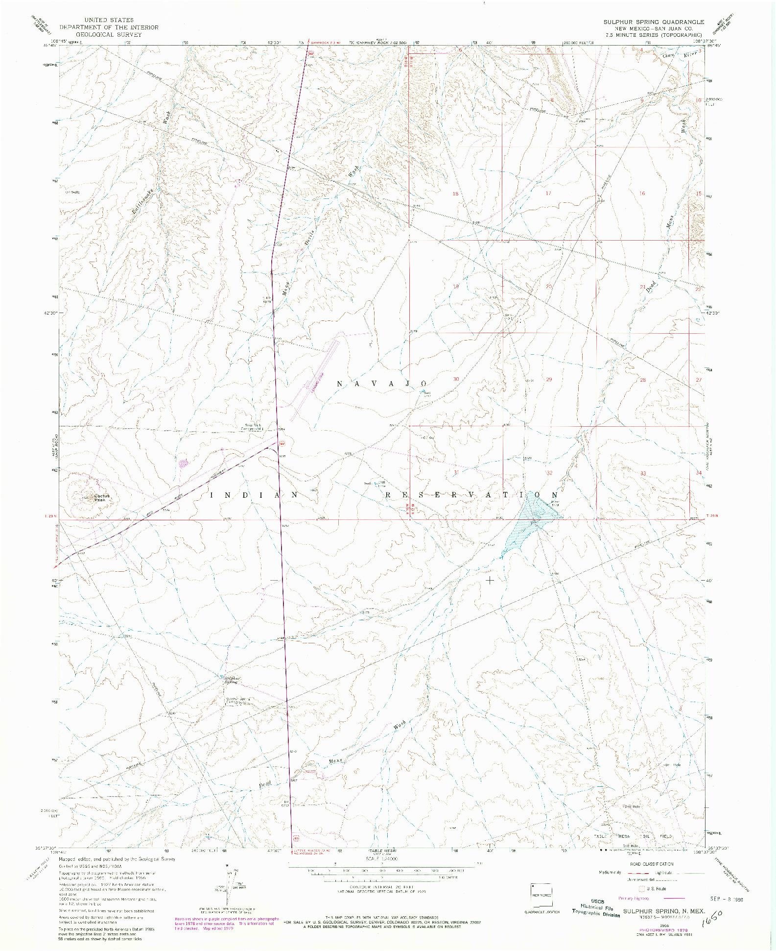 USGS 1:24000-SCALE QUADRANGLE FOR SULPHUR SPRING, NM 1966