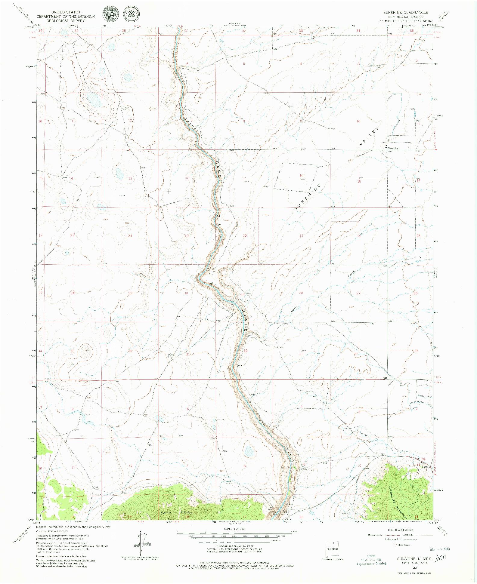 USGS 1:24000-SCALE QUADRANGLE FOR SUNSHINE, NM 1963
