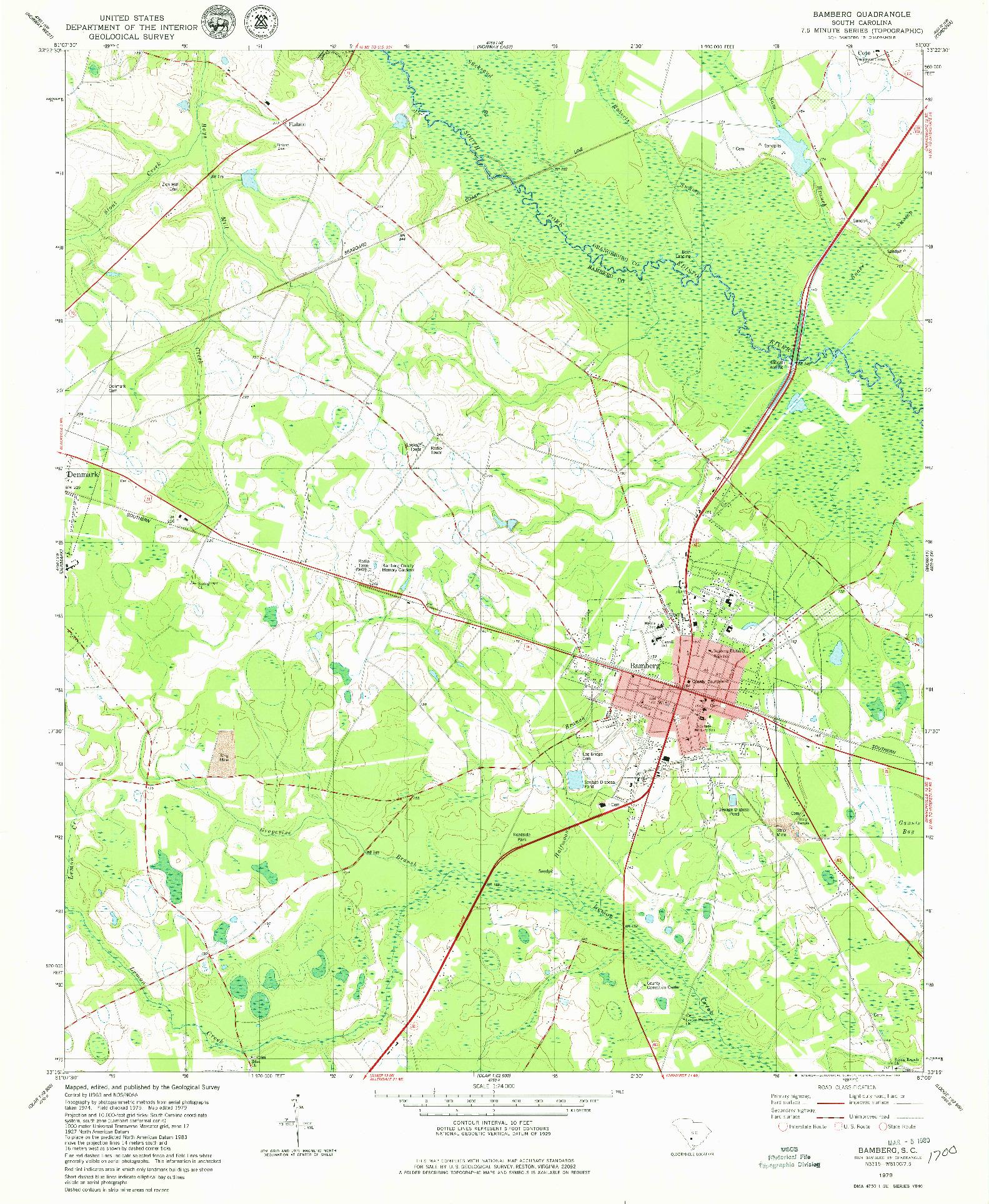 USGS 1:24000-SCALE QUADRANGLE FOR BAMBERG, SC 1979