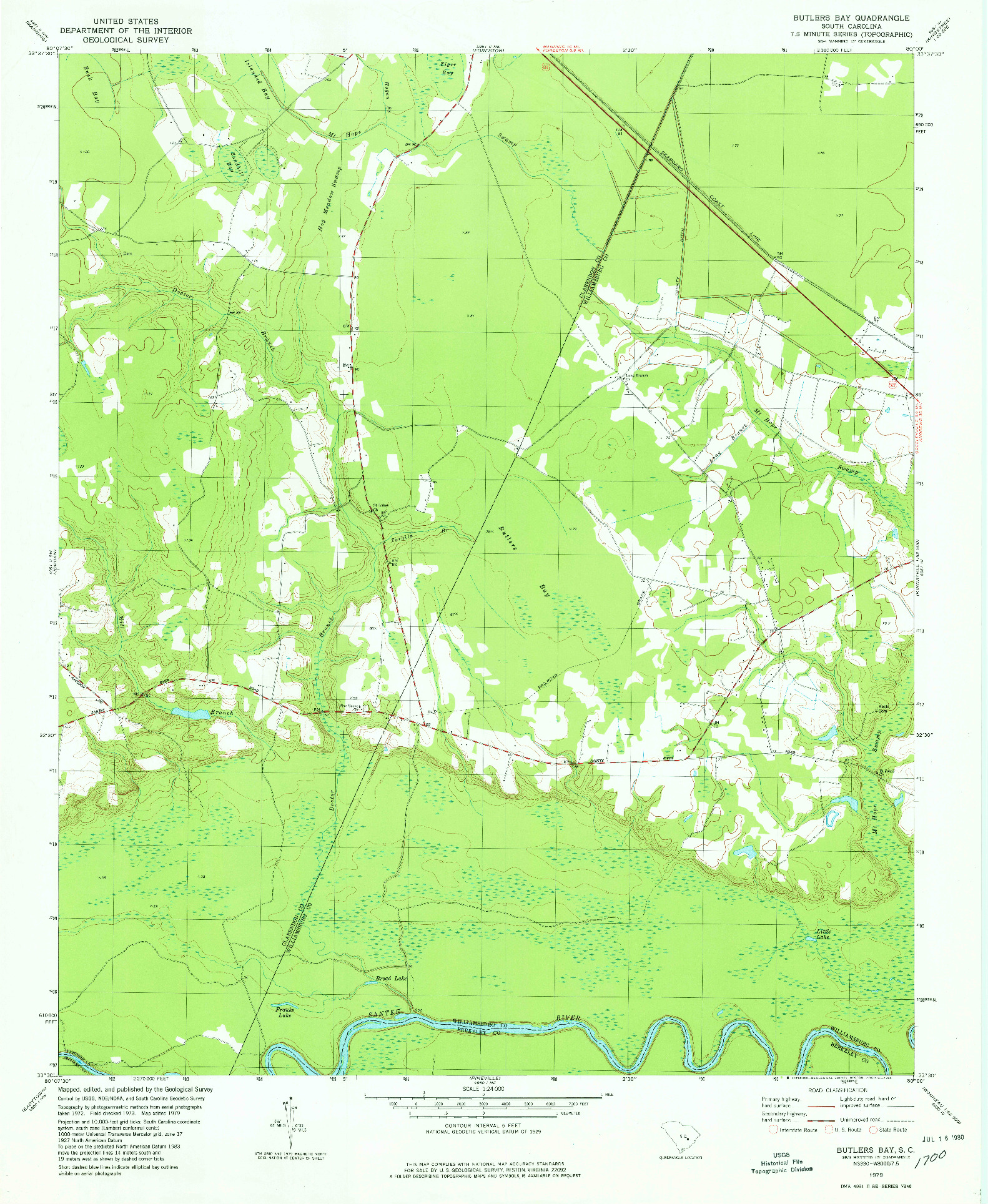 USGS 1:24000-SCALE QUADRANGLE FOR BUTLERS BAY, SC 1979