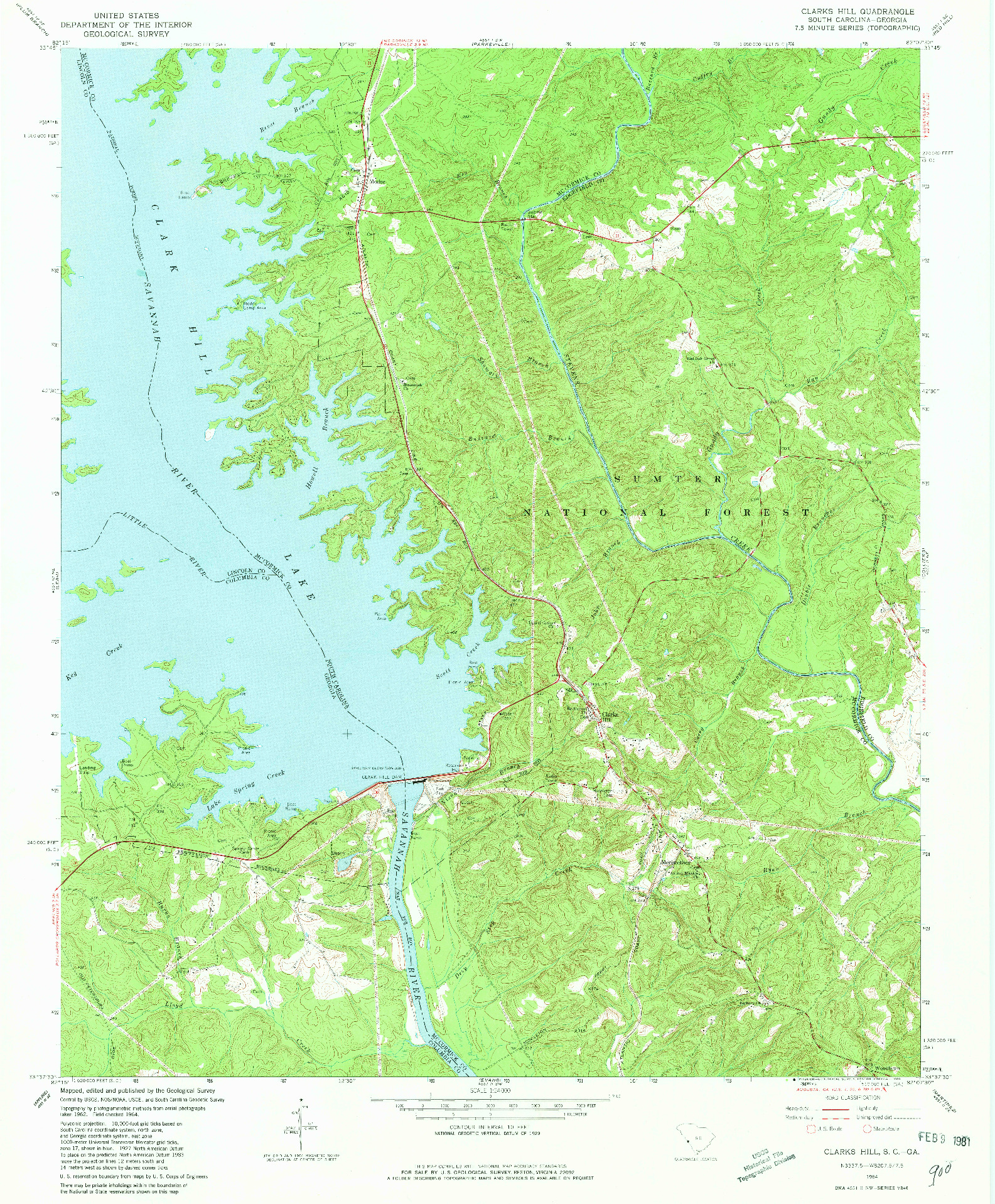 USGS 1:24000-SCALE QUADRANGLE FOR CLARKS HILL, SC 1964