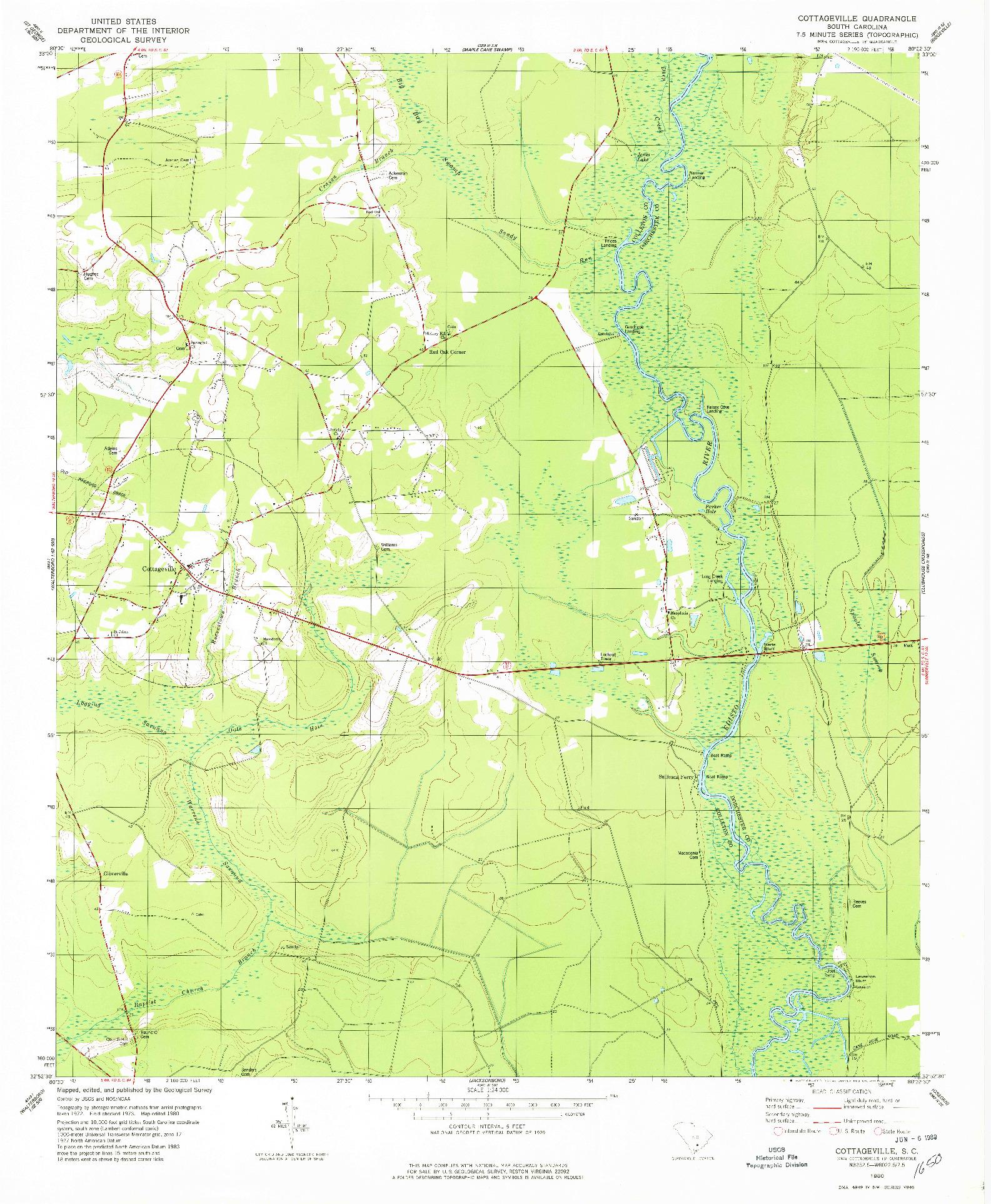 USGS 1:24000-SCALE QUADRANGLE FOR COTTAGEVILLE, SC 1980