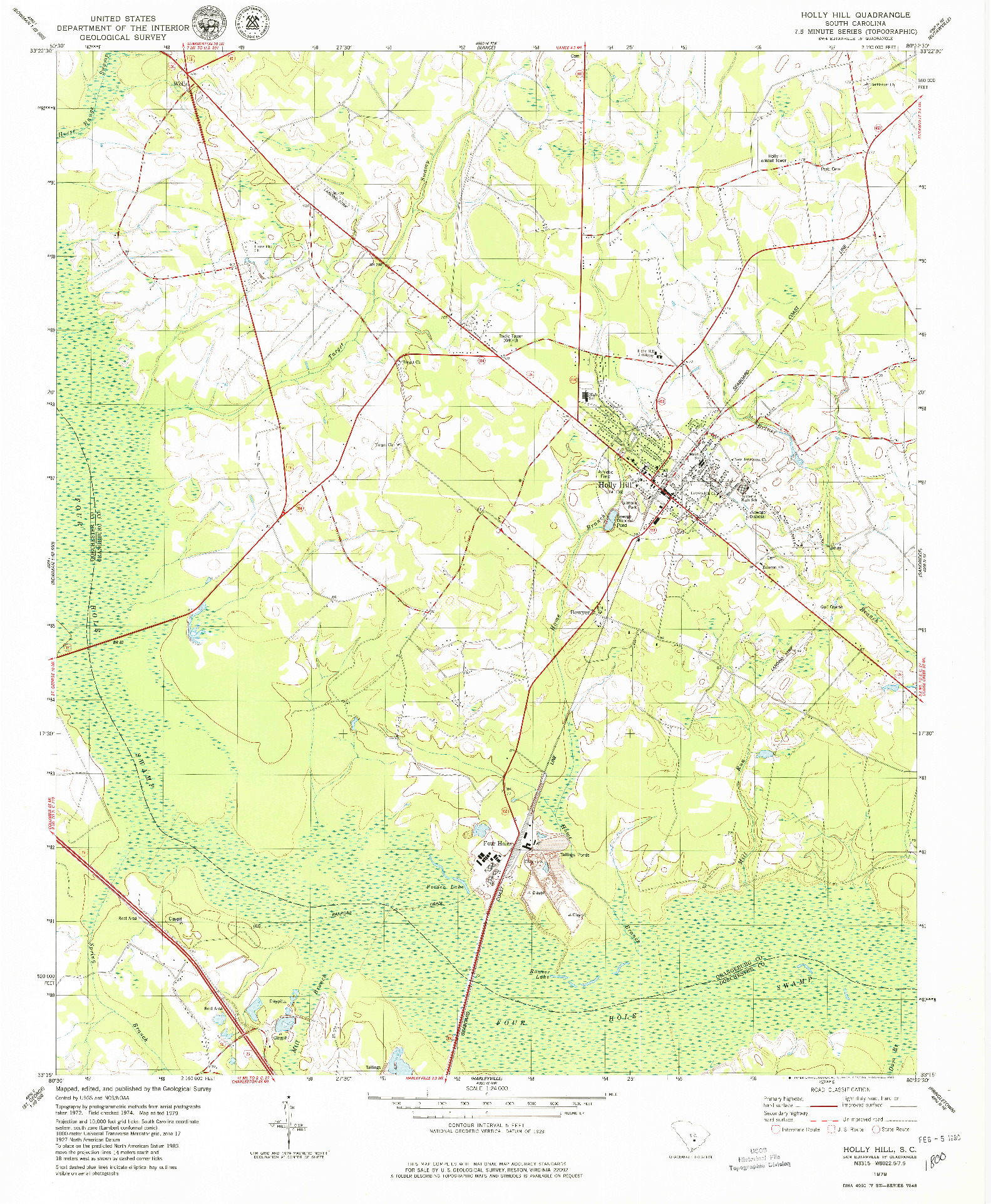 USGS 1:24000-SCALE QUADRANGLE FOR HOLLY HILL, SC 1979