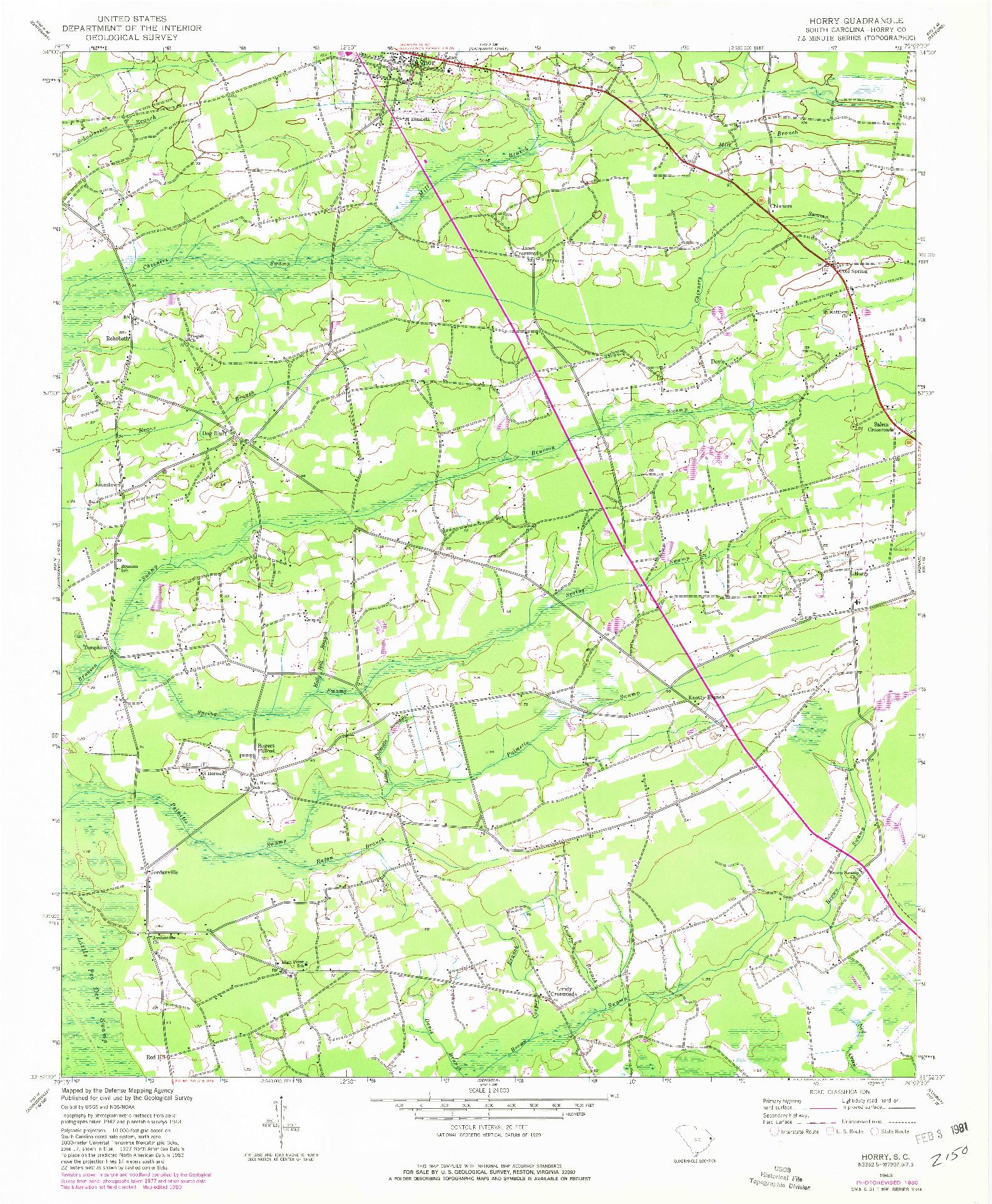 USGS 1:24000-SCALE QUADRANGLE FOR HORRY, SC 1943