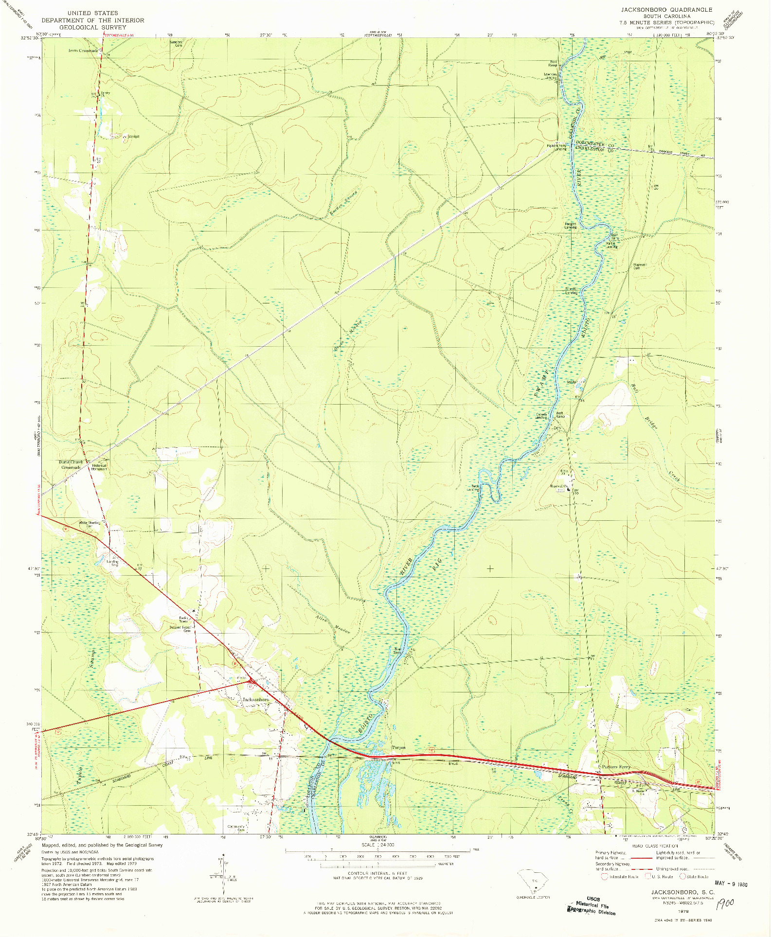 USGS 1:24000-SCALE QUADRANGLE FOR JACKSONBORO, SC 1979
