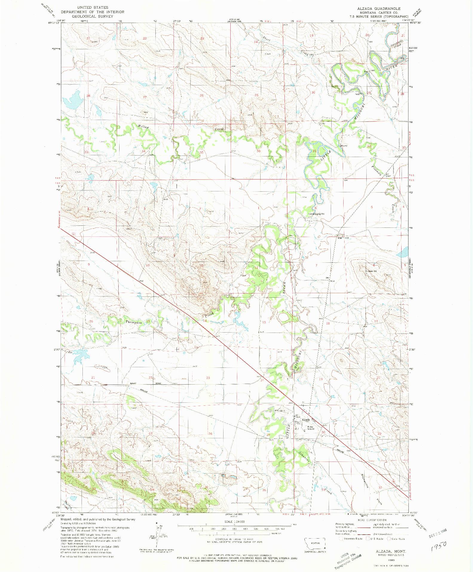 USGS 1:24000-SCALE QUADRANGLE FOR ALZADA, MT 1980
