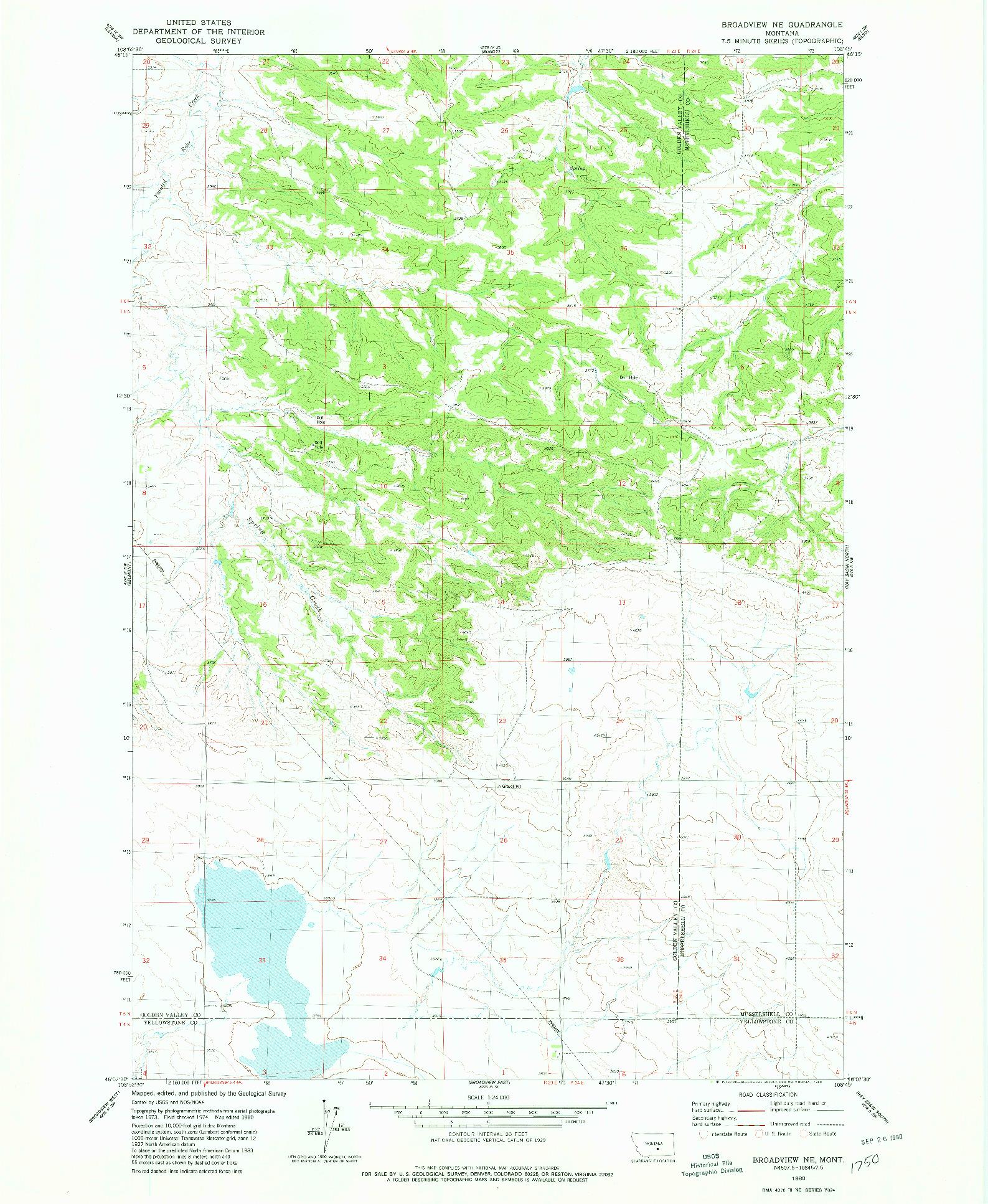 USGS 1:24000-SCALE QUADRANGLE FOR BROADVIEW NE, MT 1980