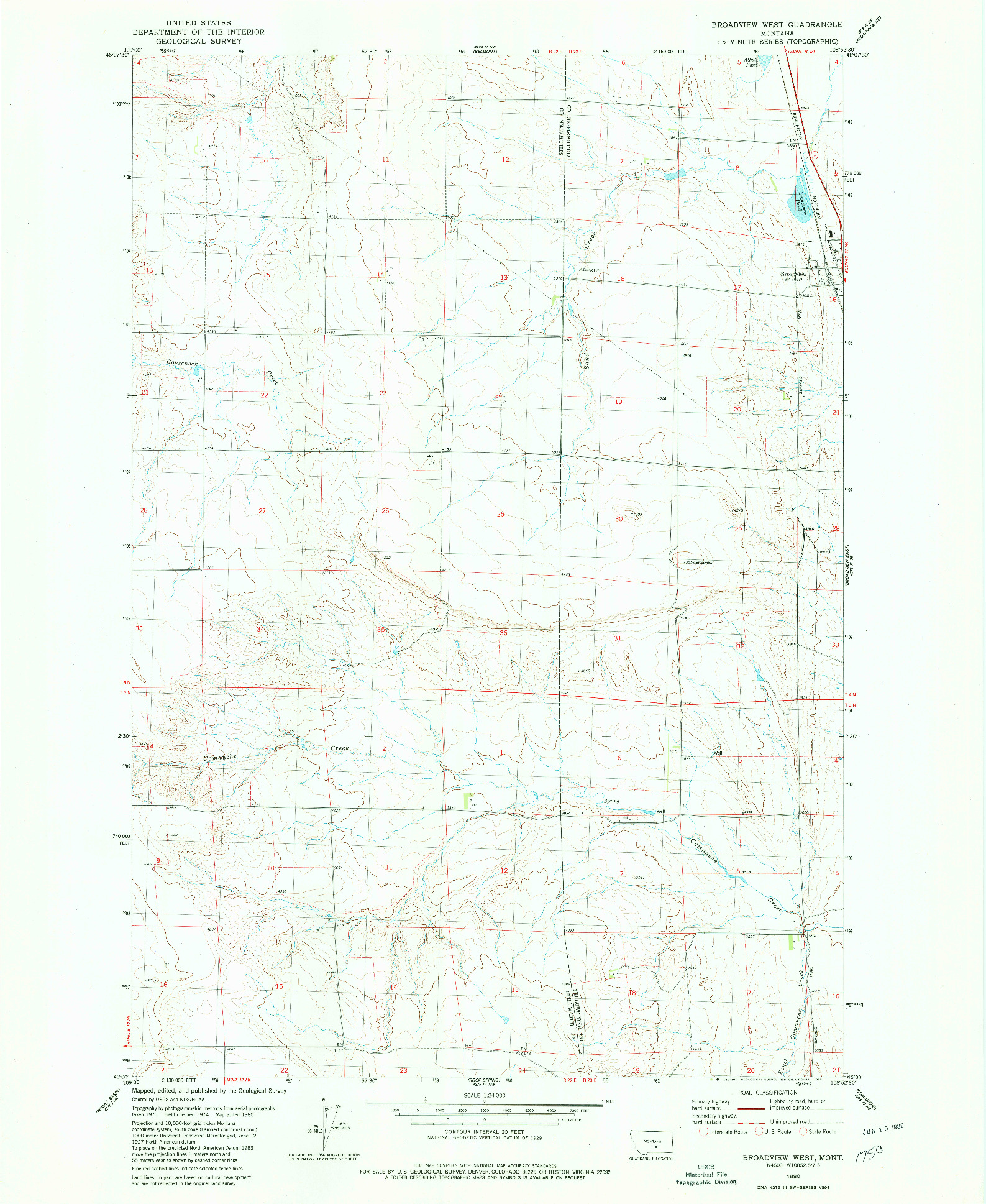 USGS 1:24000-SCALE QUADRANGLE FOR BROADVIEW WEST, MT 1980