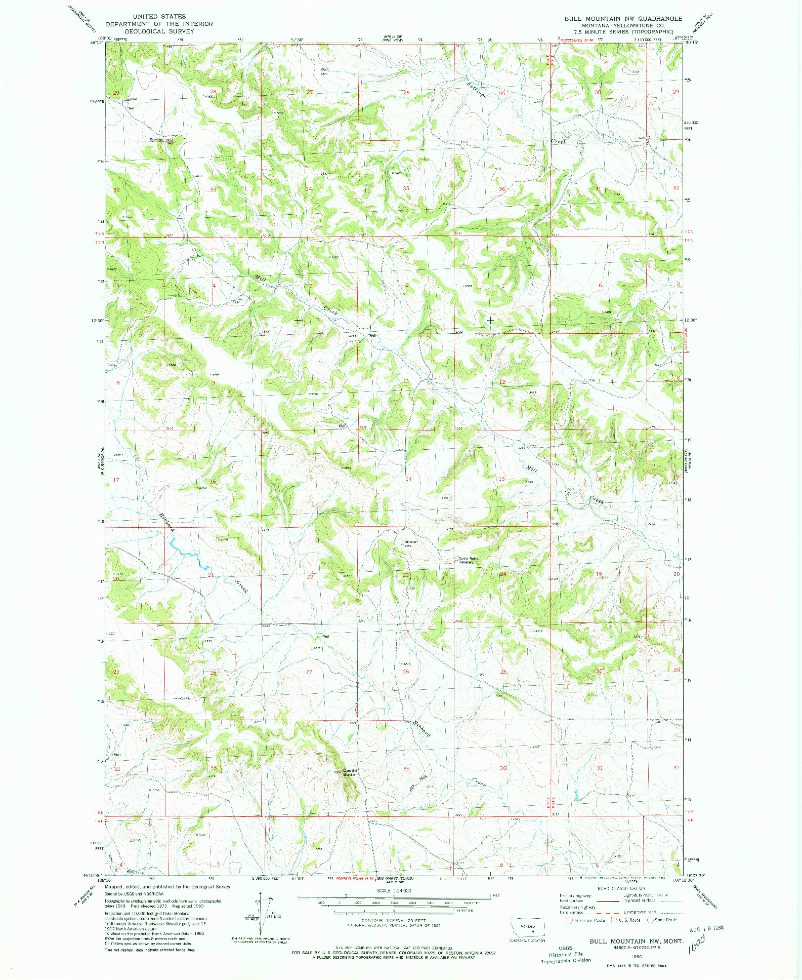 USGS 1:24000-SCALE QUADRANGLE FOR BULL MOUNTAIN NW, MT 1980