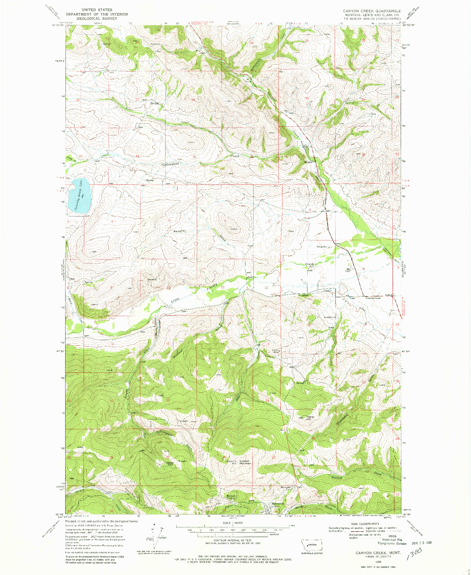 USGS 1:24000-SCALE QUADRANGLE FOR CANYON CREEK, MT 1968