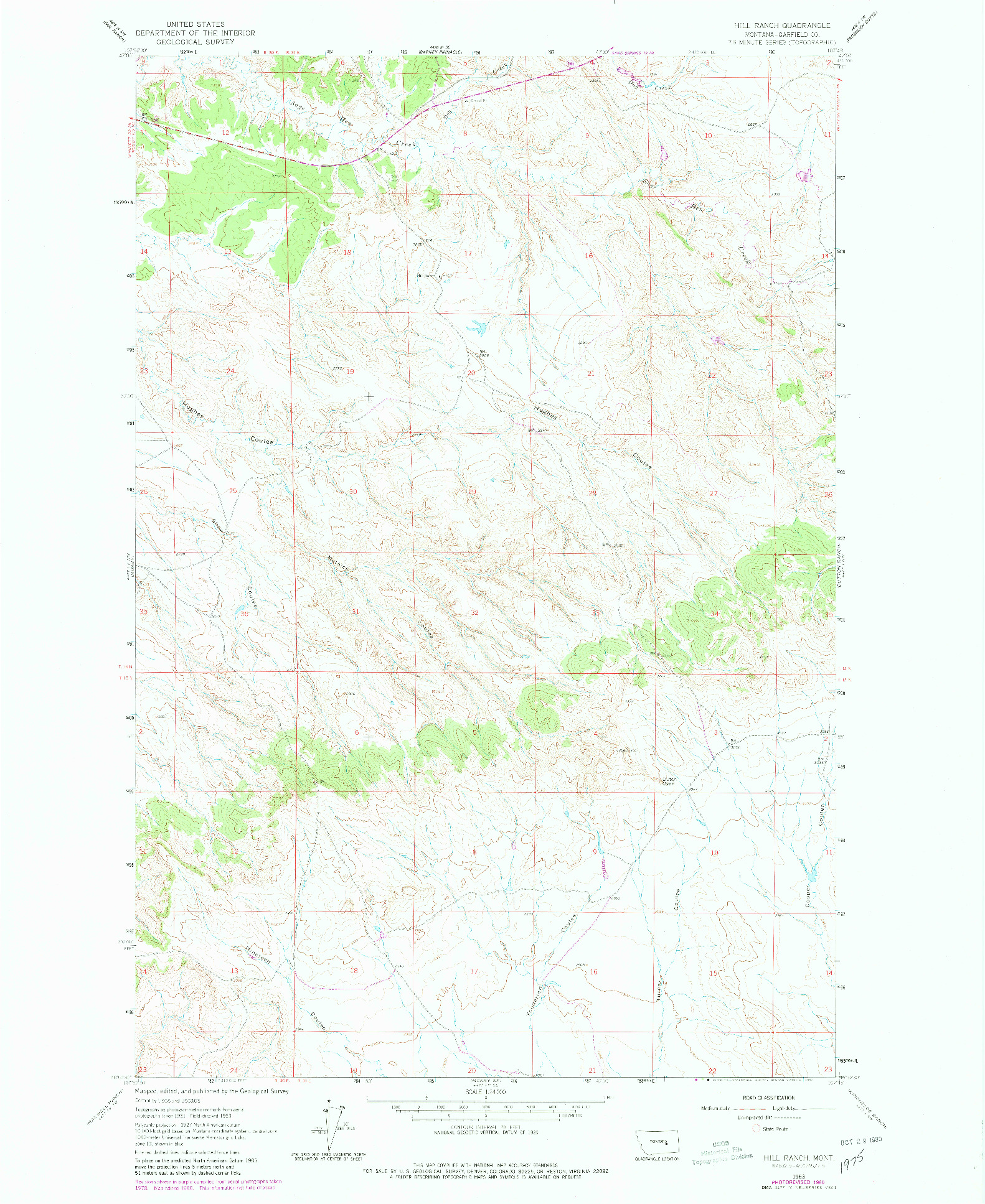 USGS 1:24000-SCALE QUADRANGLE FOR HILL RANCH, MT 1963