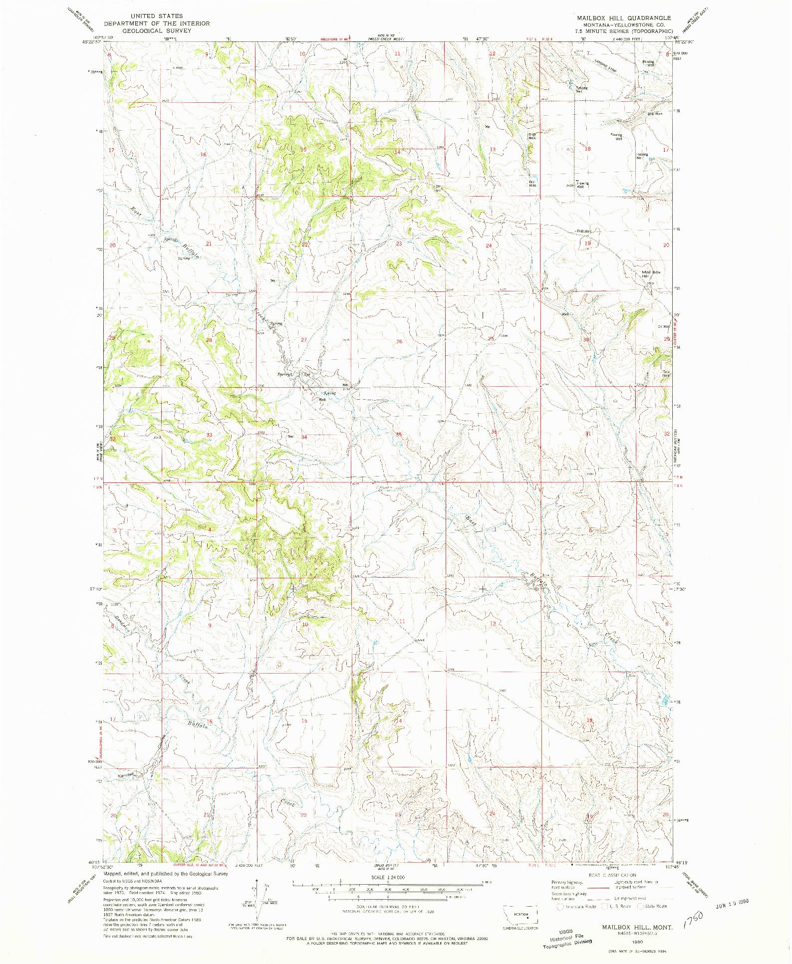 USGS 1:24000-SCALE QUADRANGLE FOR MAILBOX HILL, MT 1980