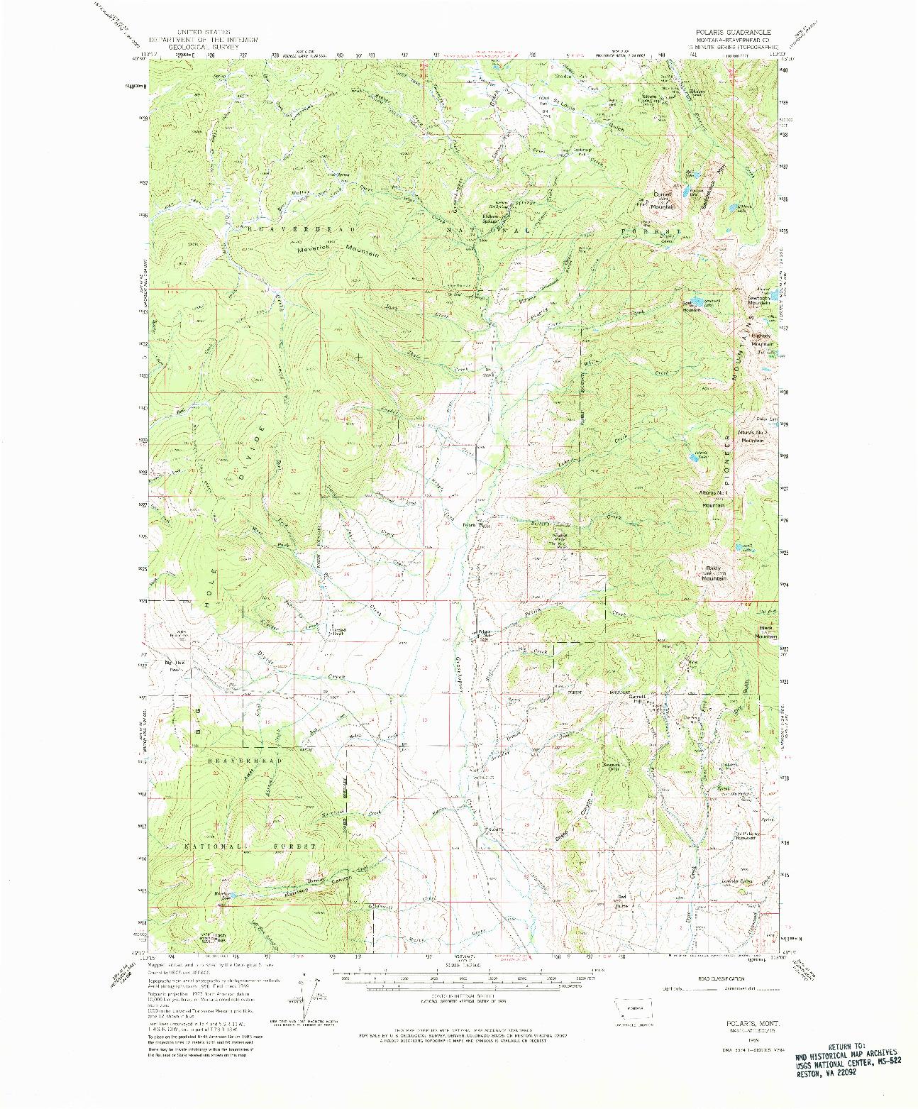 USGS 1:62500-SCALE QUADRANGLE FOR POLARIS, MT 1959