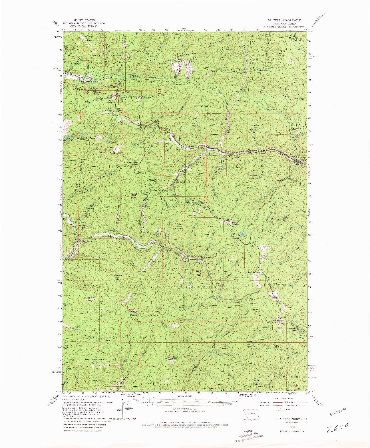 USGS 1:62500-SCALE QUADRANGLE FOR SALTESE, MT 1956