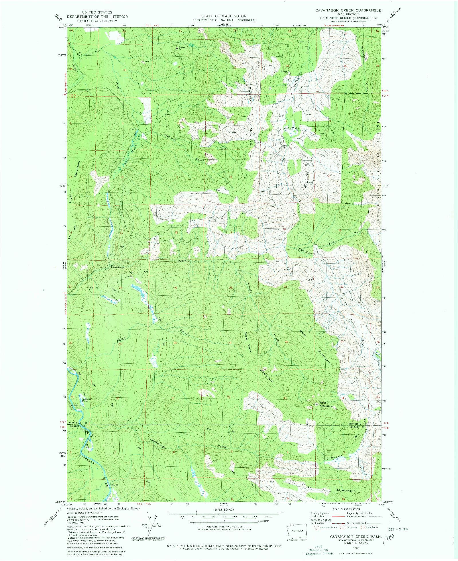 USGS 1:24000-SCALE QUADRANGLE FOR CAVANAUGH CREEK, WA 1980