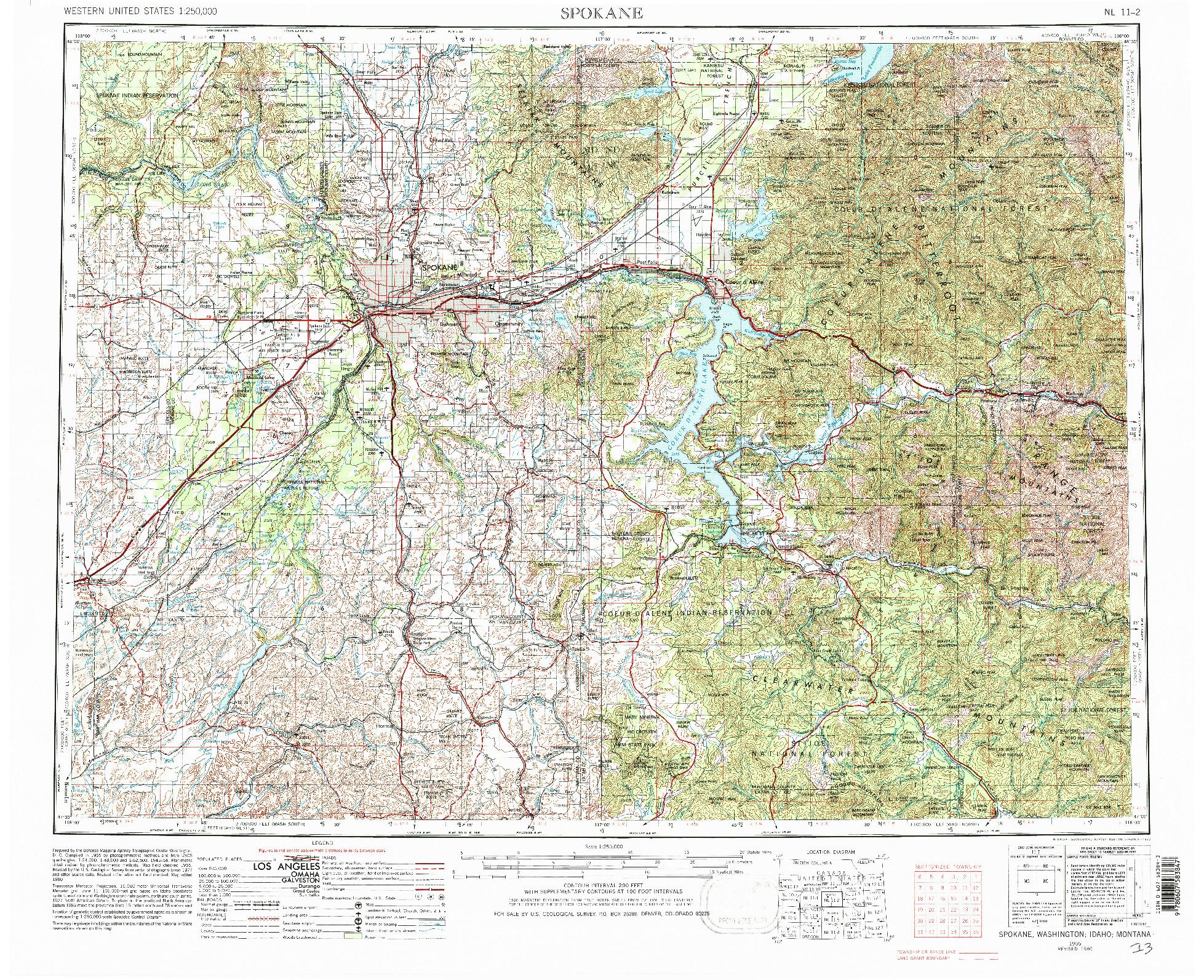 USGS 1:250000-SCALE QUADRANGLE FOR SPOKANE, WA 1955