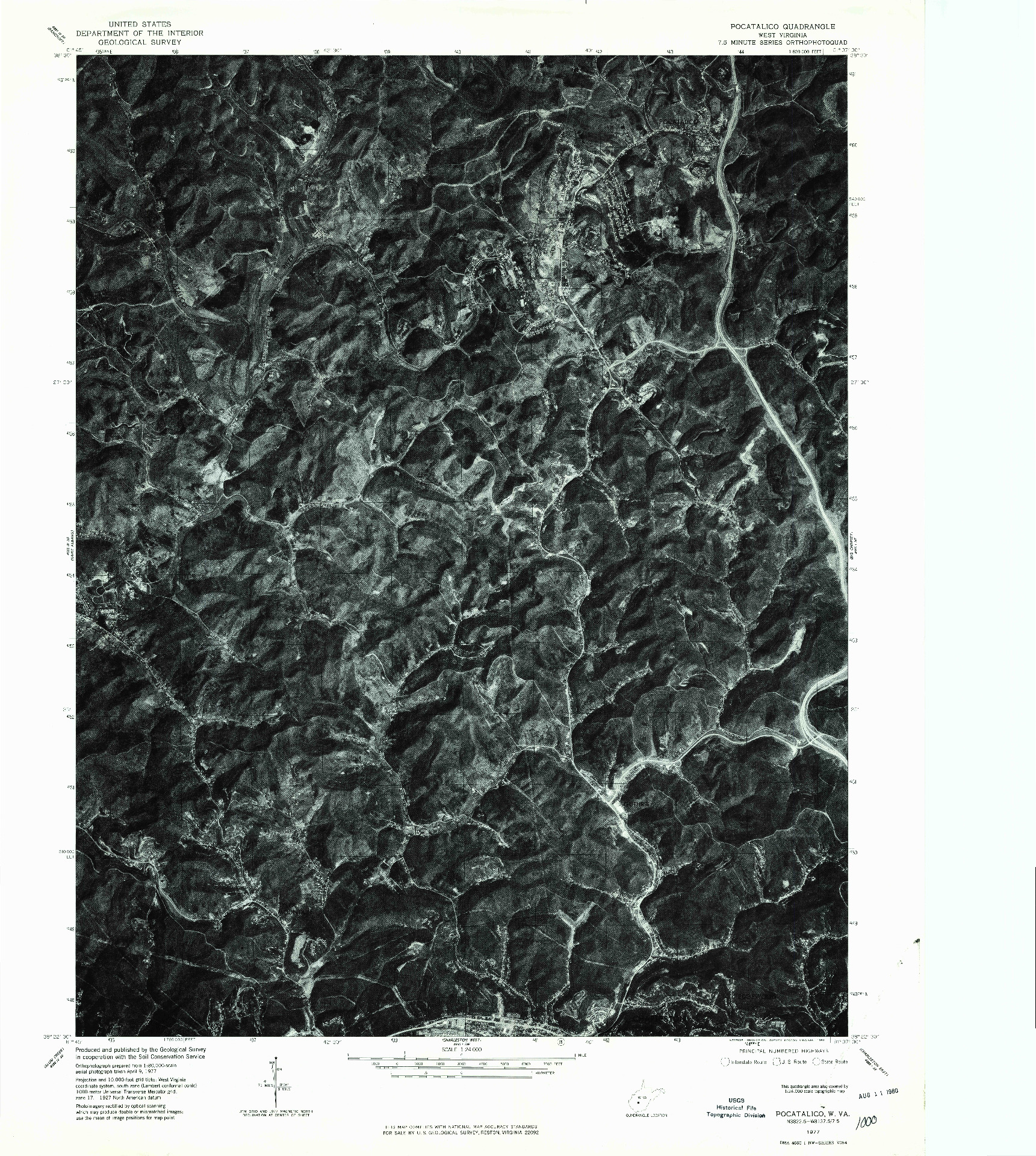USGS 1:24000-SCALE QUADRANGLE FOR POCATALICO, WV 1977