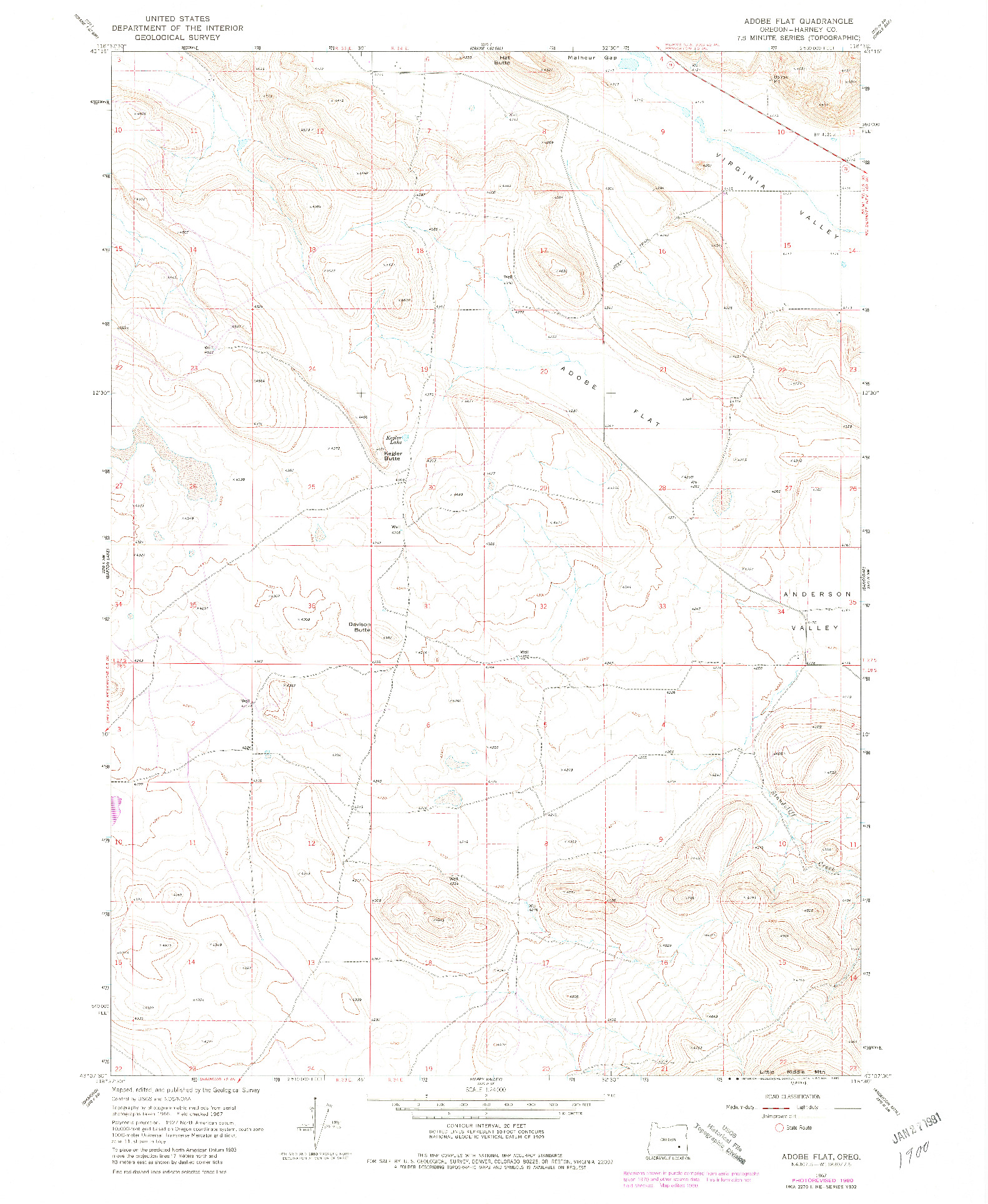 USGS 1:24000-SCALE QUADRANGLE FOR ADOBE FLAT, OR 1967