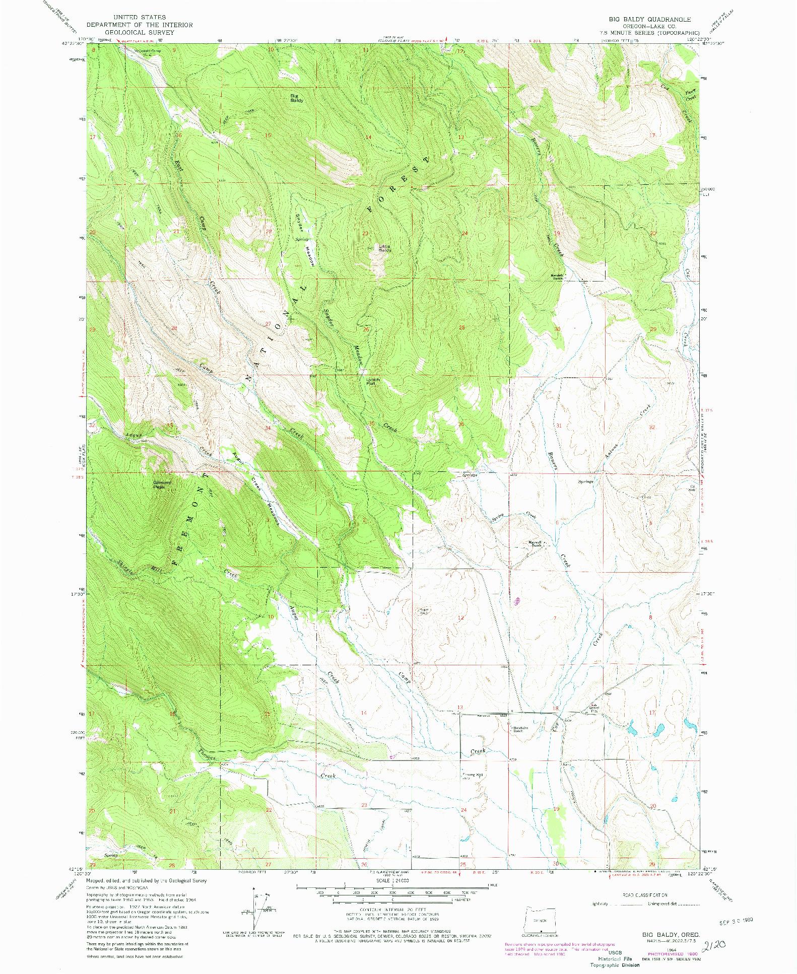 USGS 1:24000-SCALE QUADRANGLE FOR BIG BALDY, OR 1964