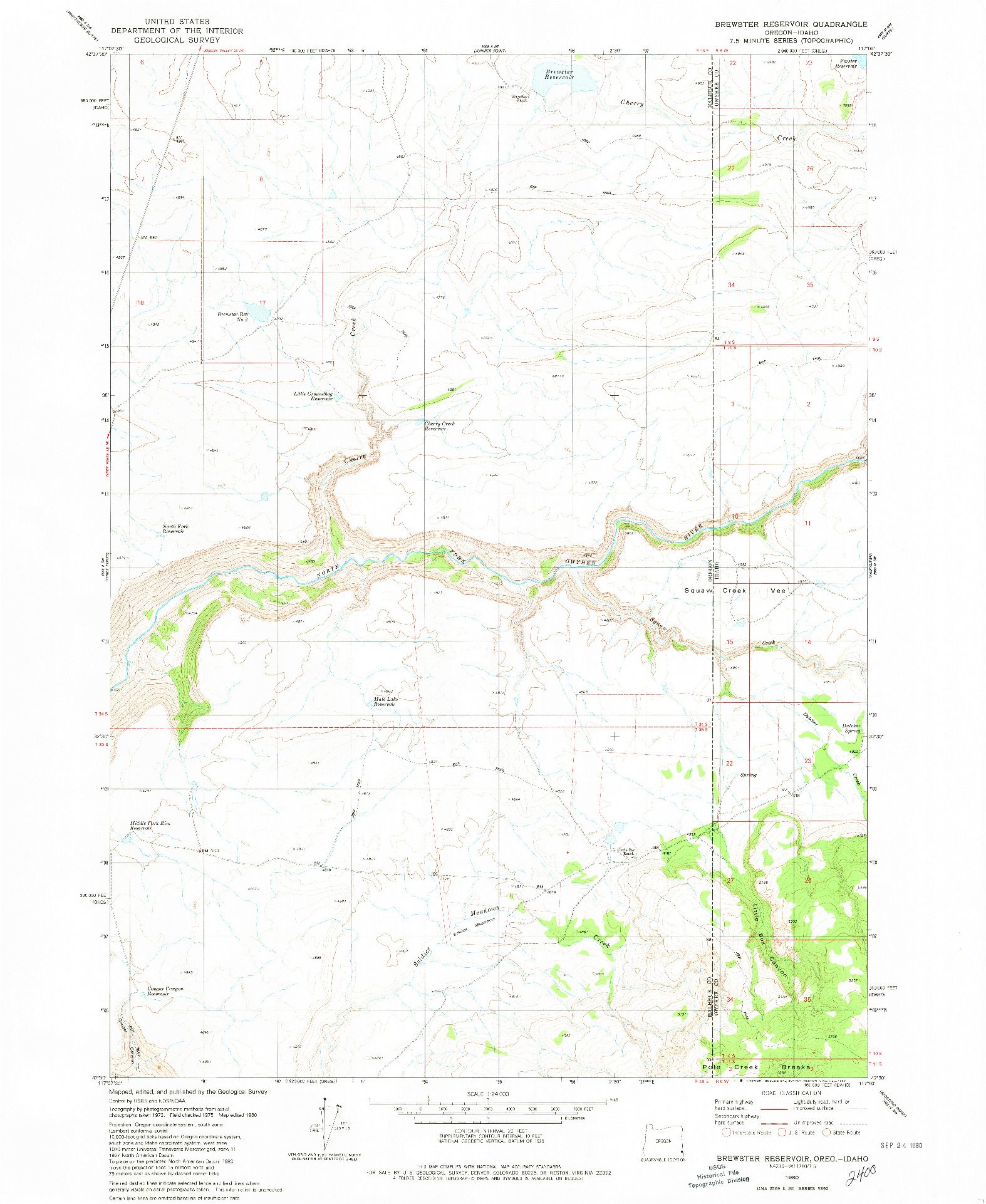 USGS 1:24000-SCALE QUADRANGLE FOR BREWSTER RESERVOIR, OR 1980