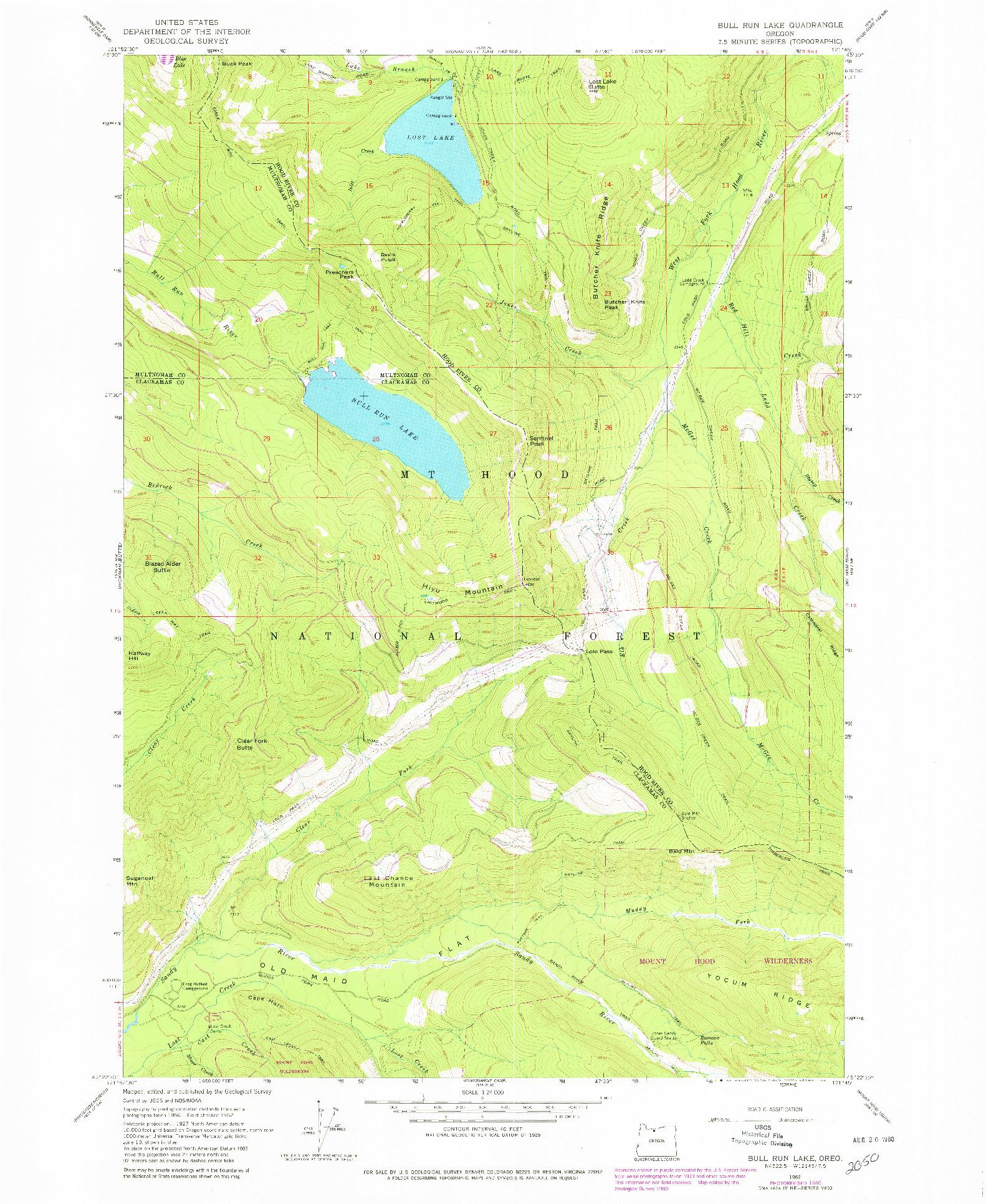 USGS 1:24000-SCALE QUADRANGLE FOR BULL RUN LAKE, OR 1962