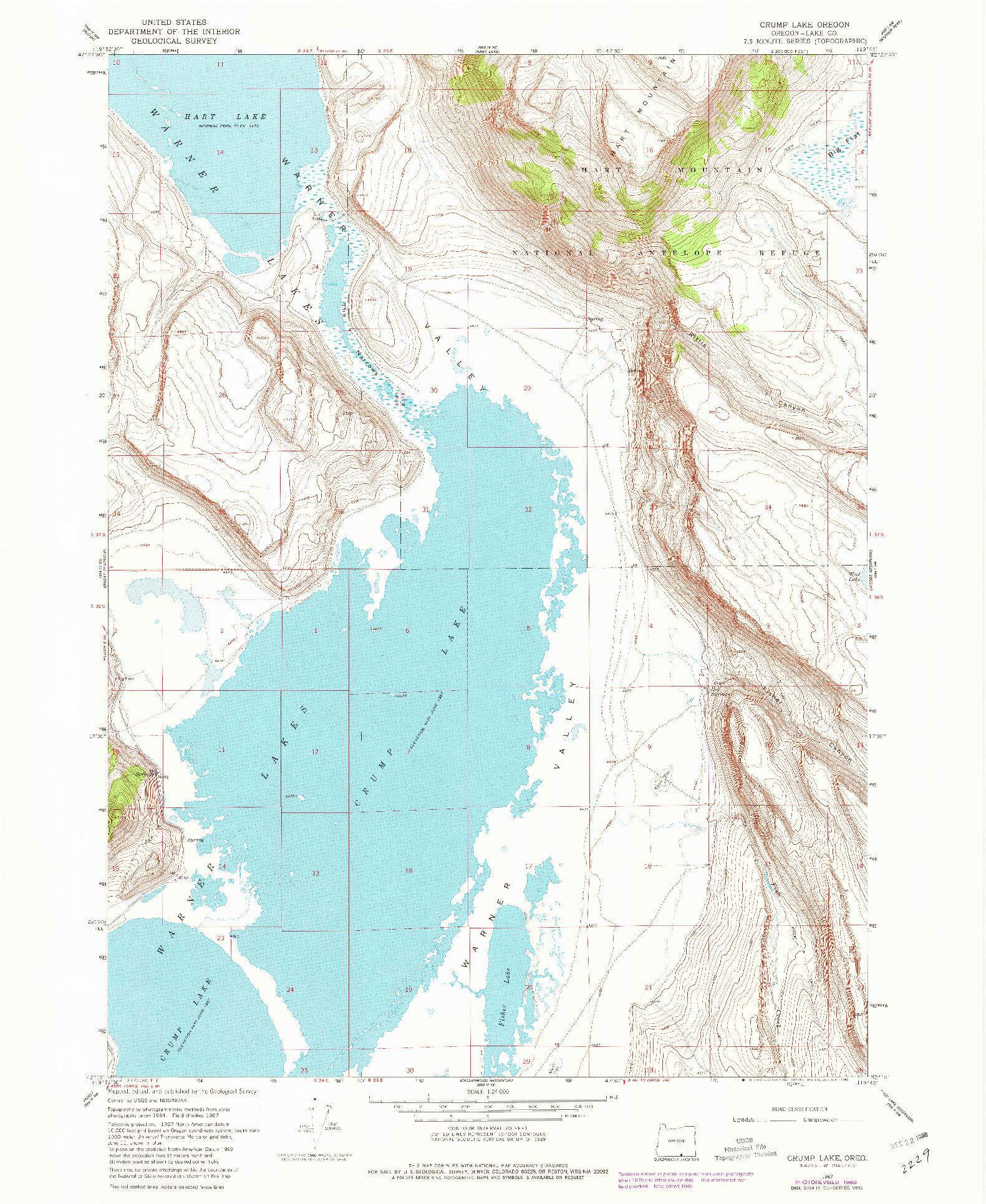 USGS 1:24000-SCALE QUADRANGLE FOR CRUMP LAKE, OR 1967