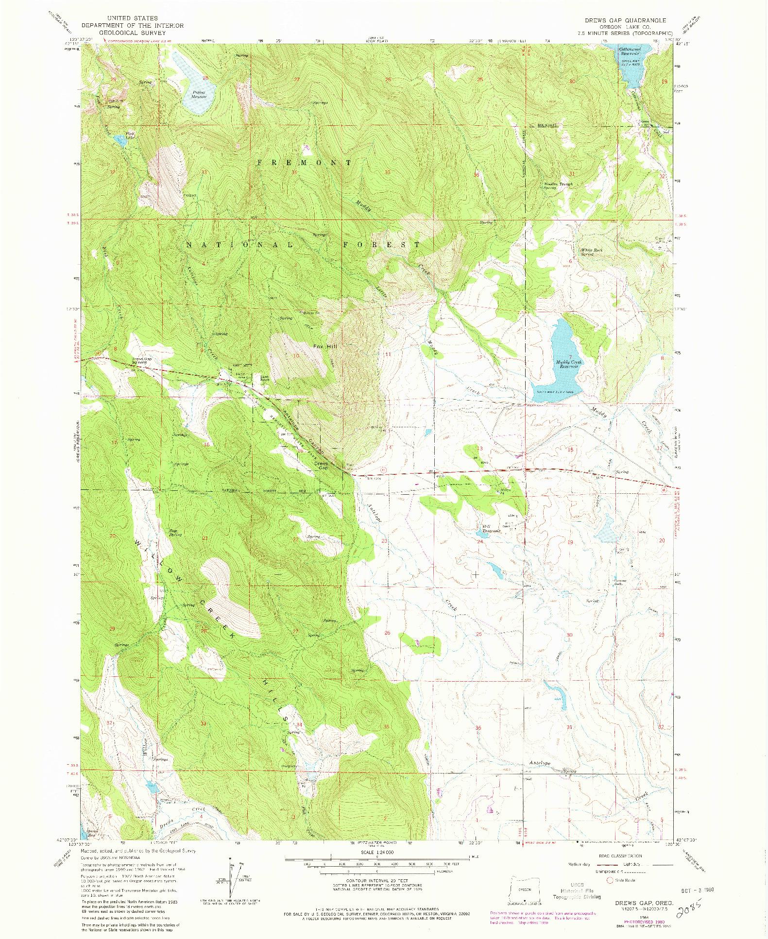 USGS 1:24000-SCALE QUADRANGLE FOR DREWS GAP, OR 1964
