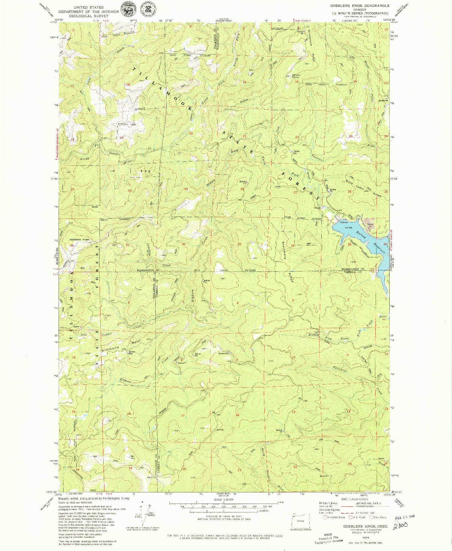 USGS 1:24000-SCALE QUADRANGLE FOR GOBBLERS KNOB, OR 1979