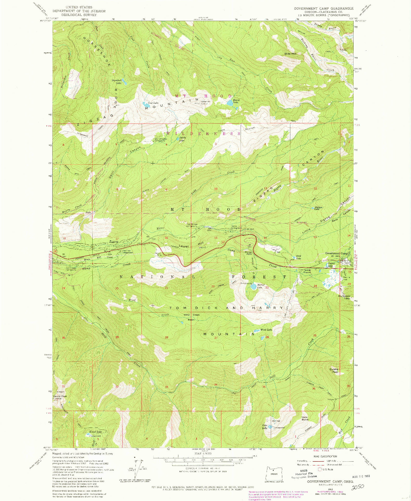 USGS 1:24000-SCALE QUADRANGLE FOR GOVERNMENT CAMP, OR 1980