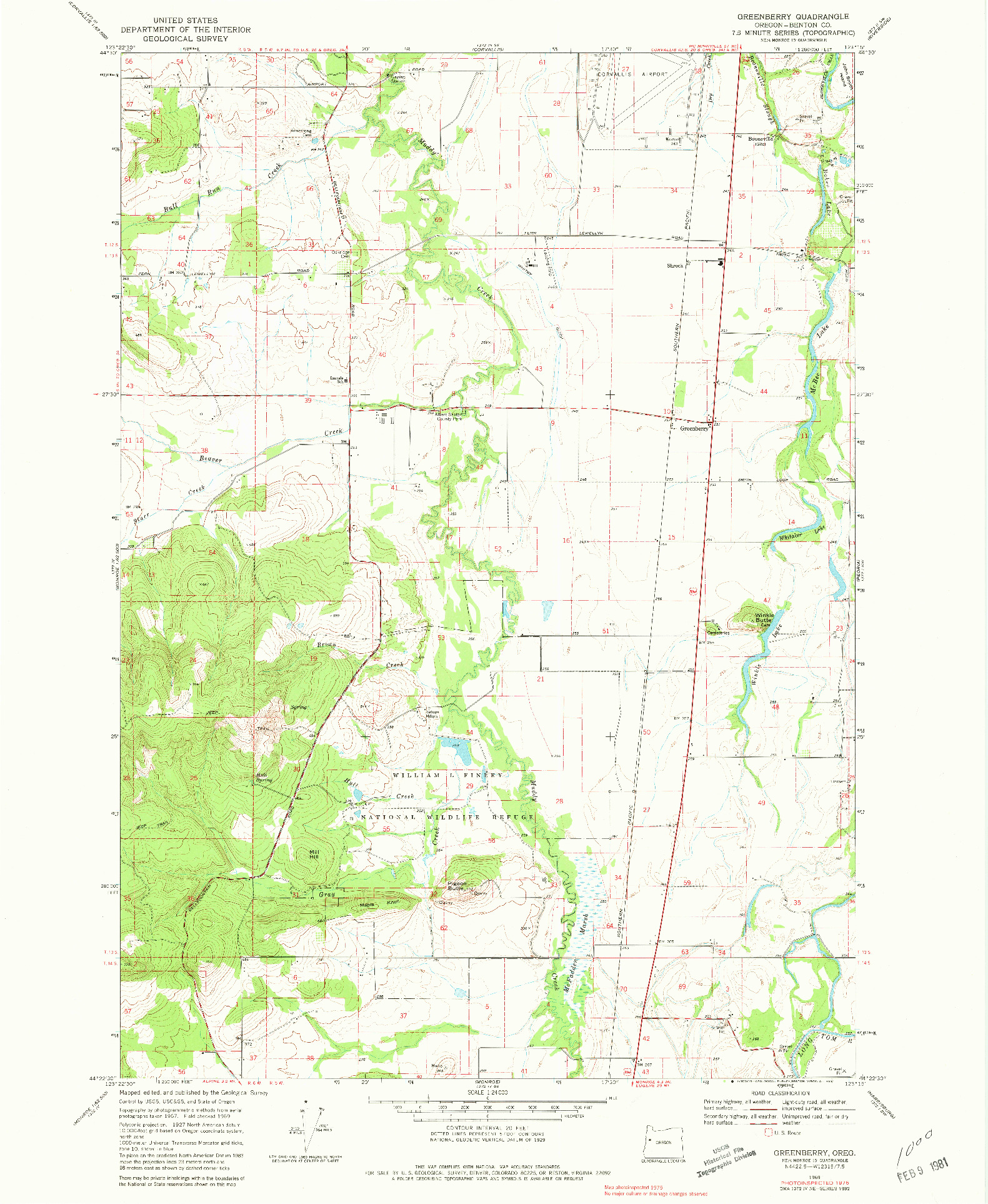 USGS 1:24000-SCALE QUADRANGLE FOR GREENBERRY, OR 1969