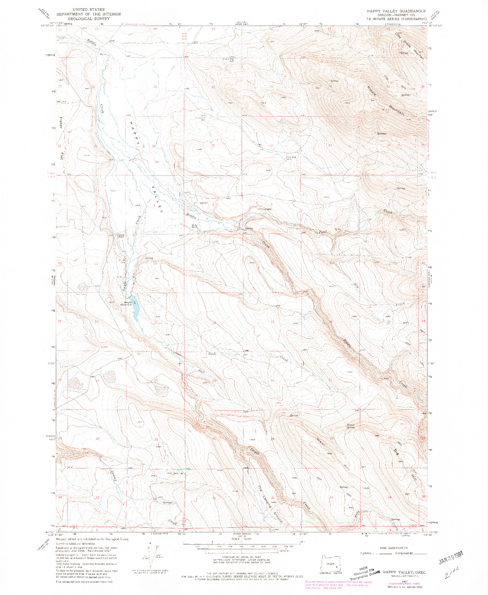 USGS 1:24000-SCALE QUADRANGLE FOR HAPPY VALLEY, OR 1967