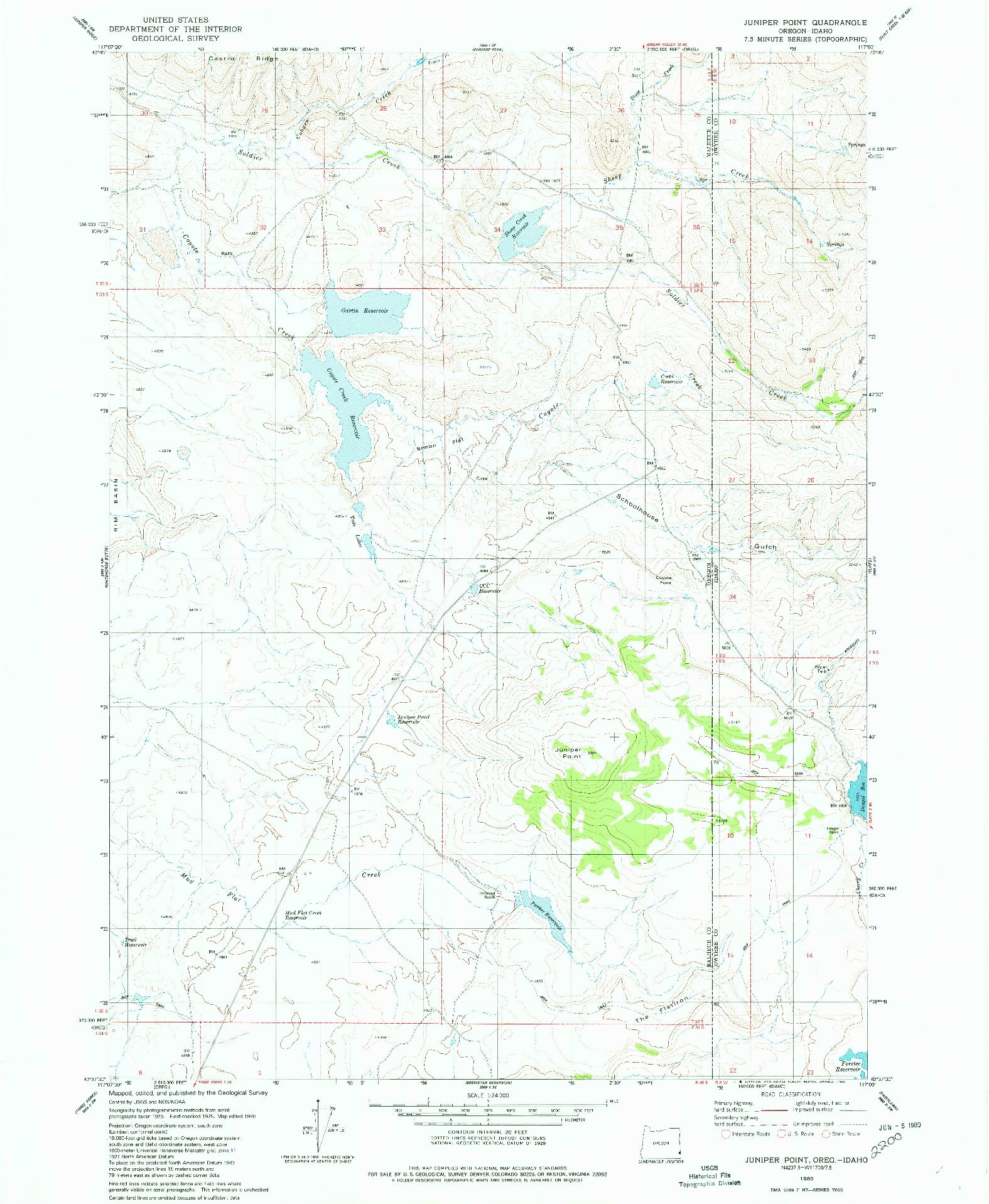 USGS 1:24000-SCALE QUADRANGLE FOR JUNIPER POINT, OR 1980