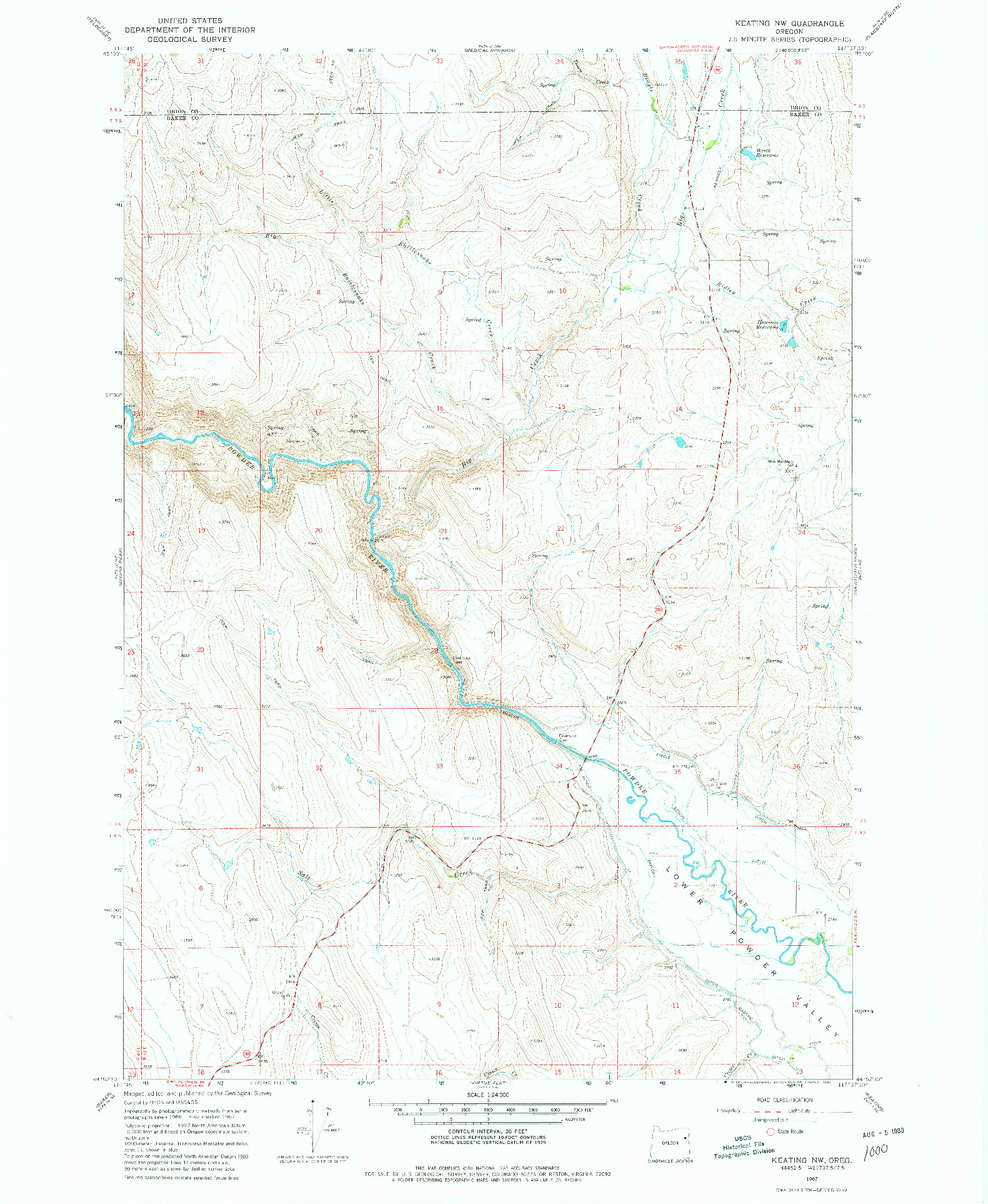 USGS 1:24000-SCALE QUADRANGLE FOR KEATING NW, OR 1967