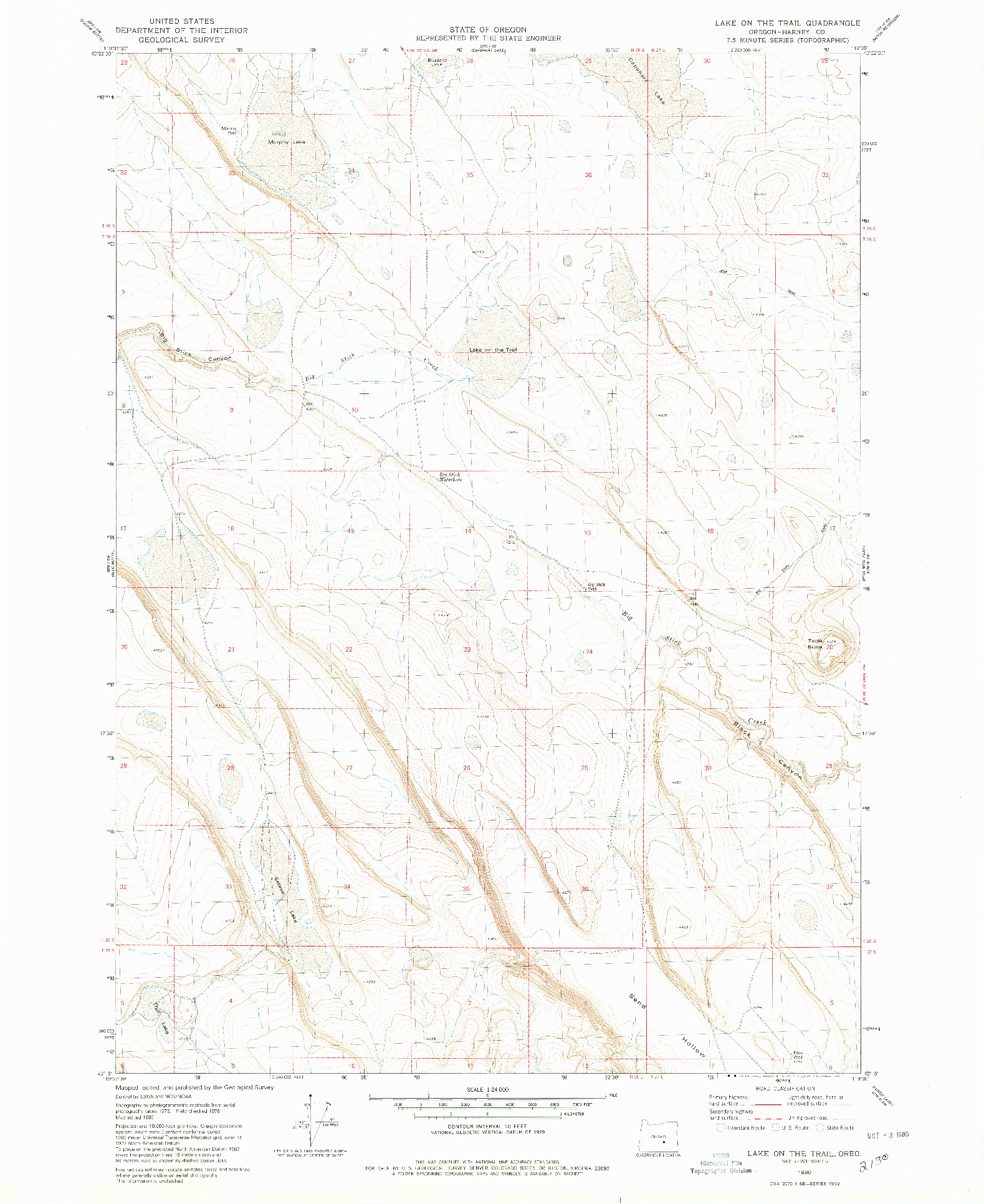 USGS 1:24000-SCALE QUADRANGLE FOR LAKE ON THE TRAIL, OR 1980