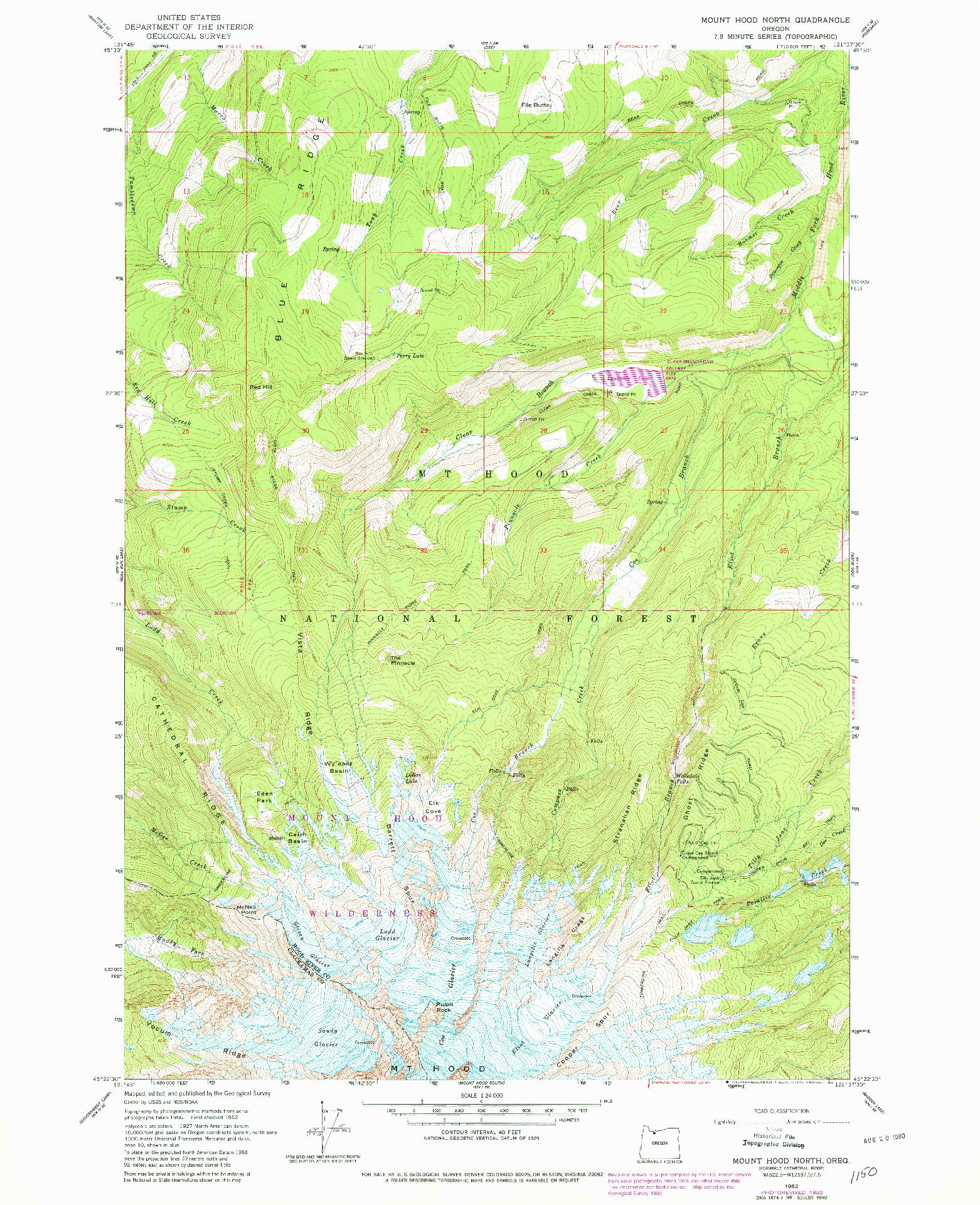 USGS 1:24000-SCALE QUADRANGLE FOR MOUNT HOOD NORTH, OR 1962