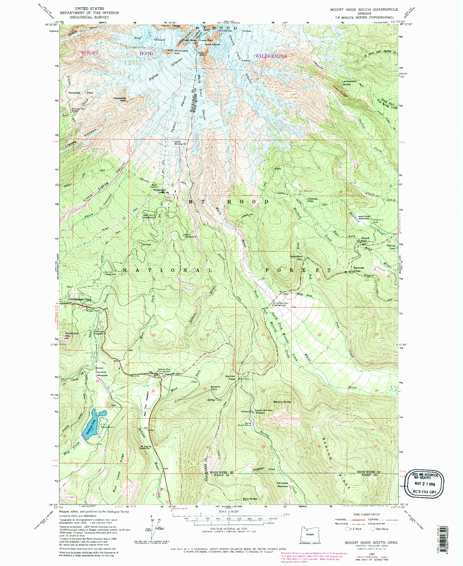 USGS 1:24000-SCALE QUADRANGLE FOR MOUNT HOOD SOUTH, OR 1962