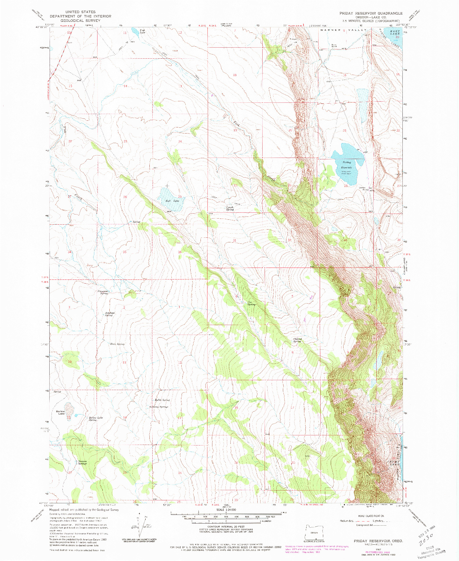 USGS 1:24000-SCALE QUADRANGLE FOR PRIDAY RESERVOIR, OR 1967