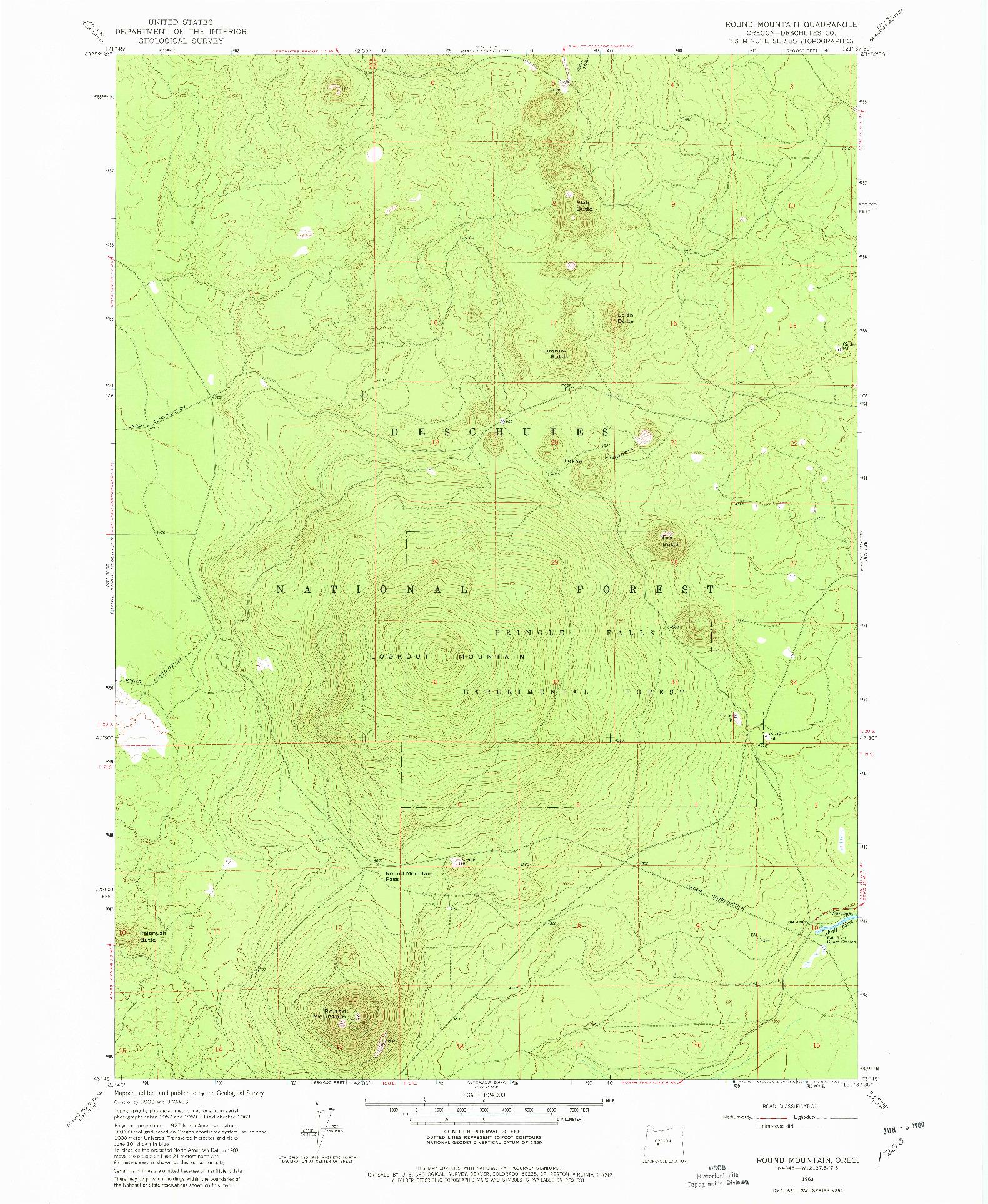 USGS 1:24000-SCALE QUADRANGLE FOR ROUND MOUNTAIN, OR 1963