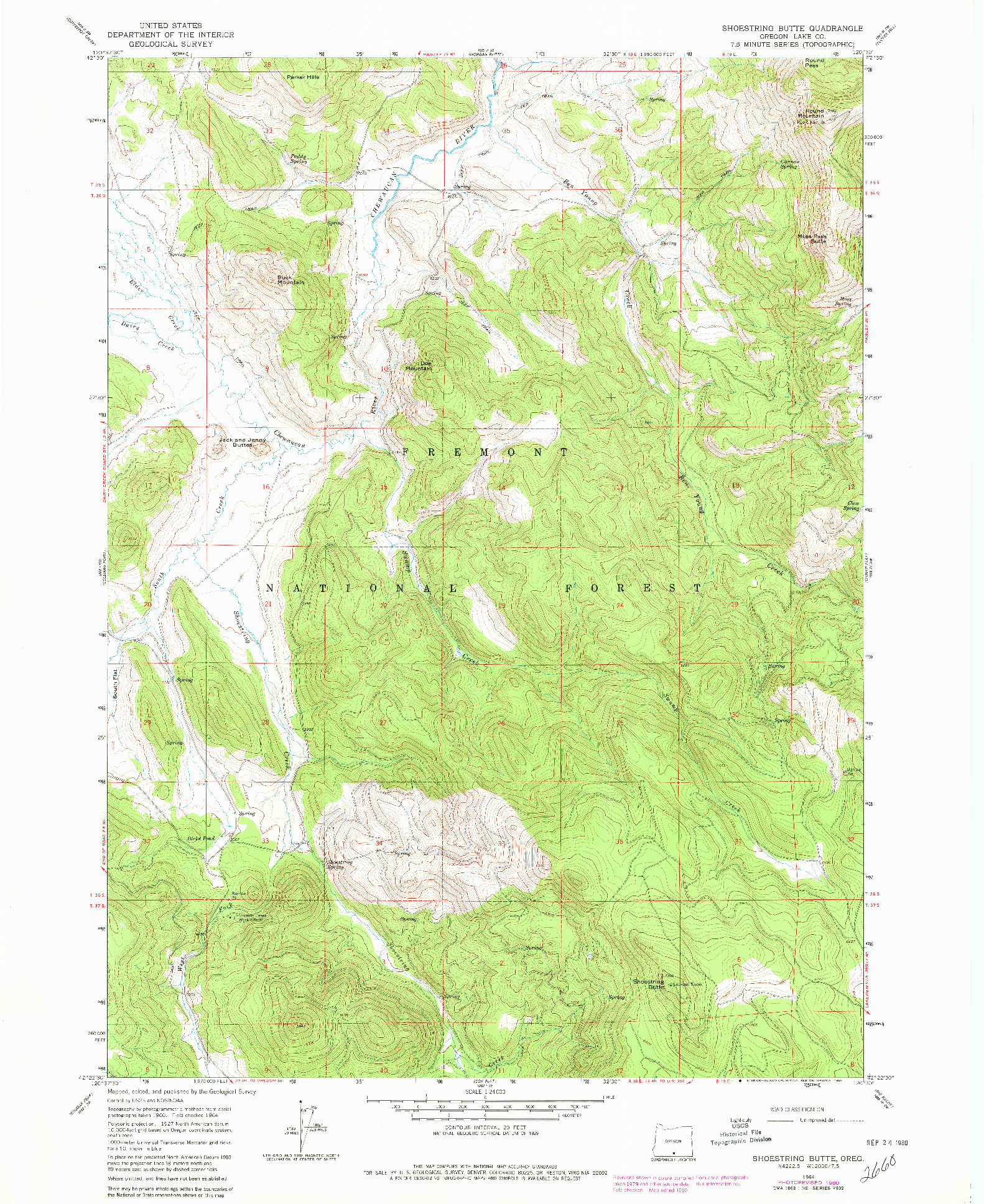 USGS 1:24000-SCALE QUADRANGLE FOR SHOESTRING BUTTE, OR 1964