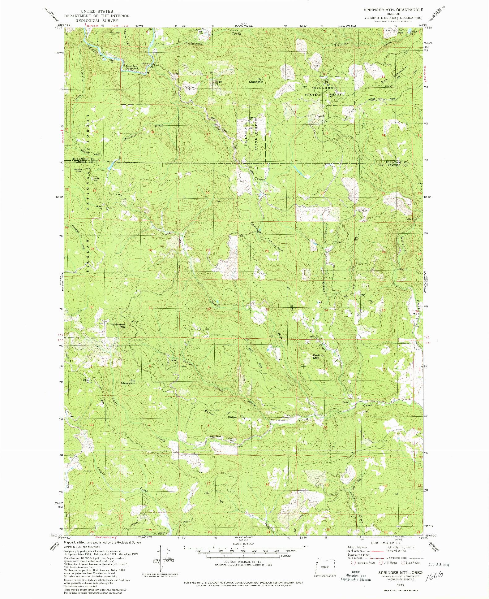 USGS 1:24000-SCALE QUADRANGLE FOR SPRINGER MTN, OR 1979