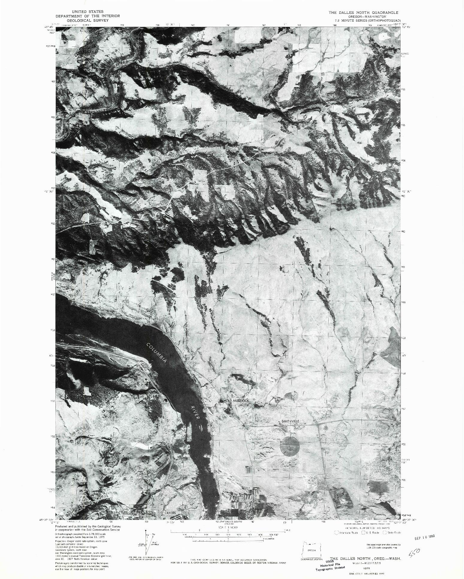 USGS 1:24000-SCALE QUADRANGLE FOR THE DALLES NORTH, OR 1975