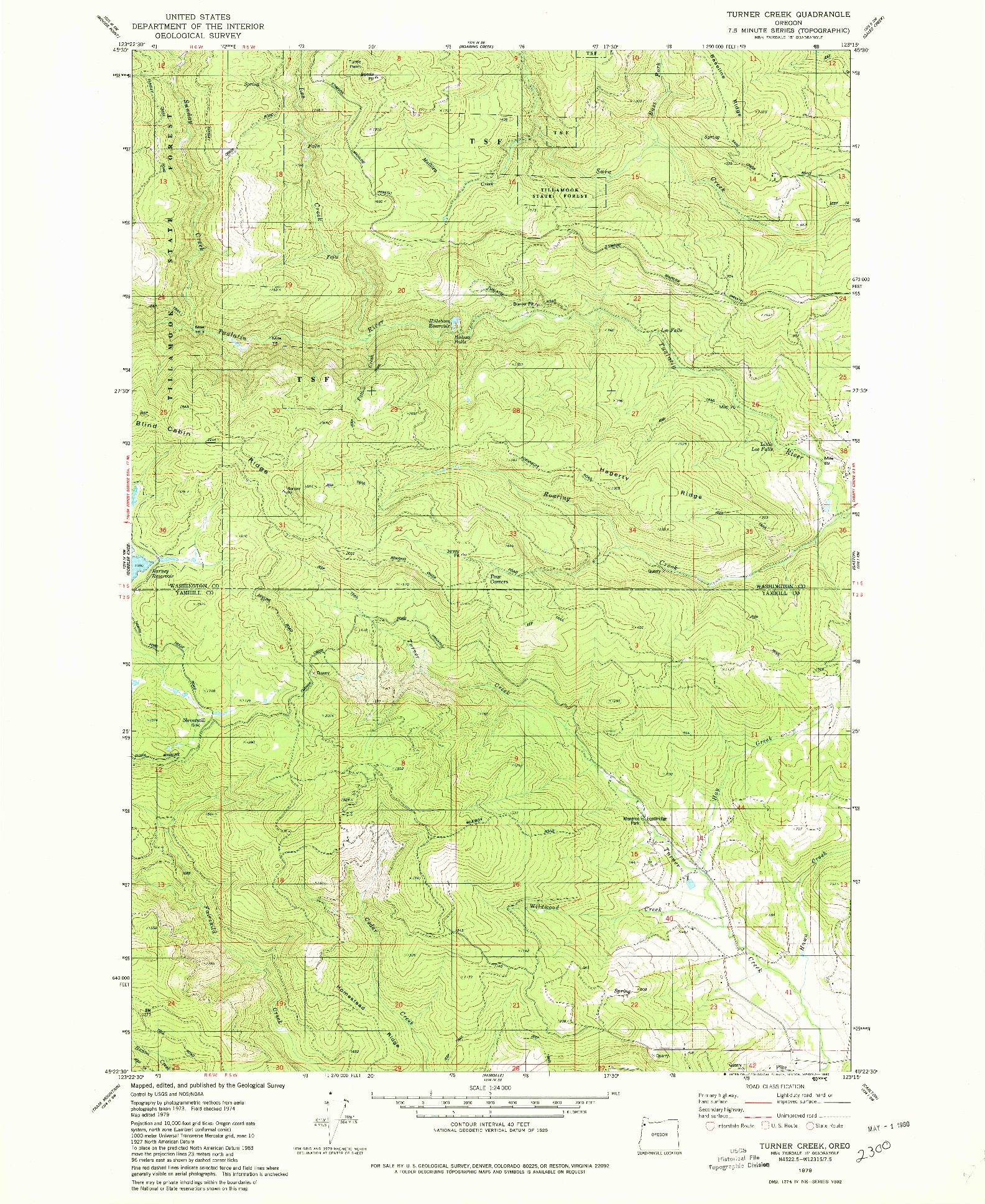 USGS 1:24000-SCALE QUADRANGLE FOR TURNER CREEK, OR 1979