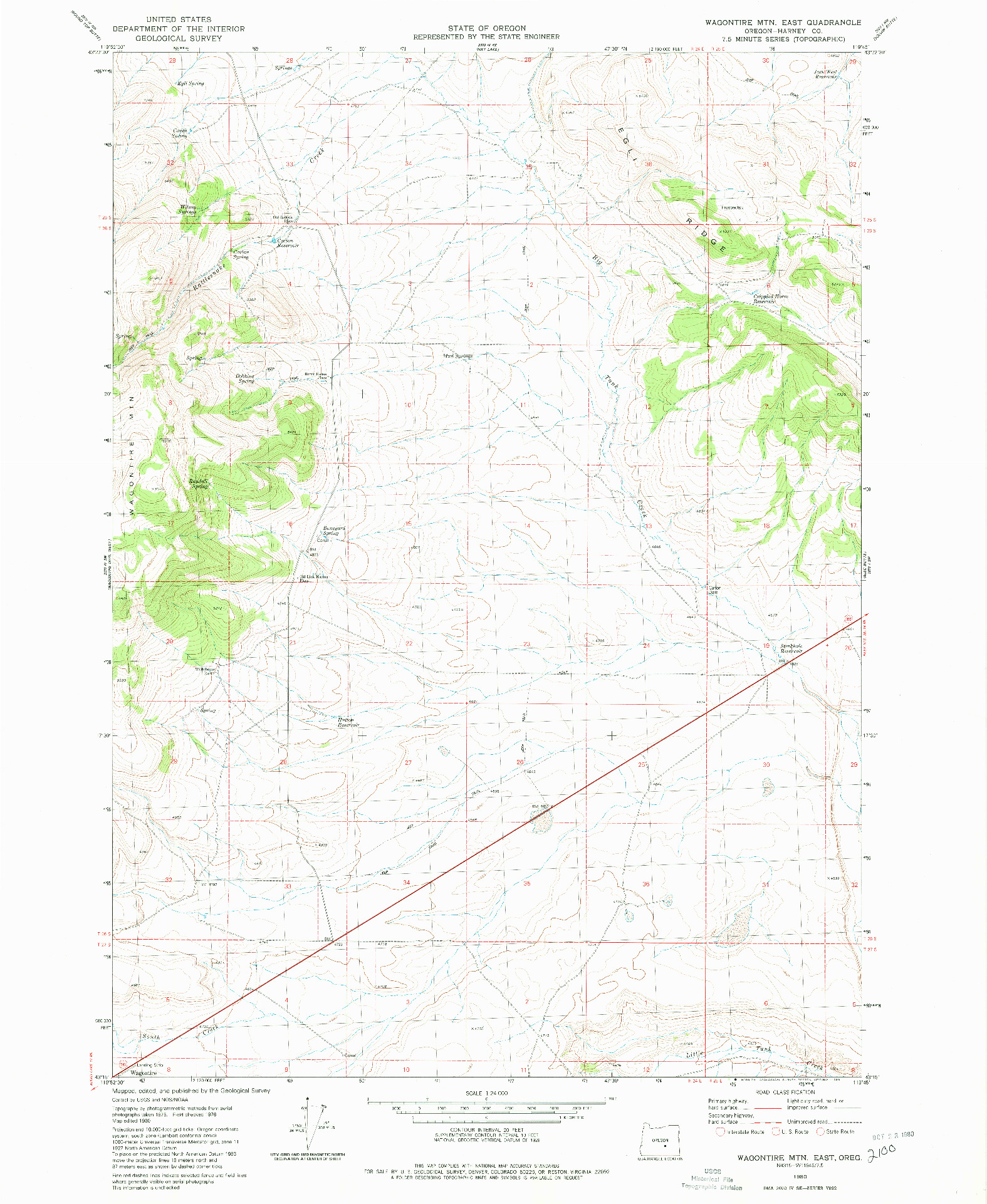 USGS 1:24000-SCALE QUADRANGLE FOR WAGONTIRE MTN EAST, OR 1980