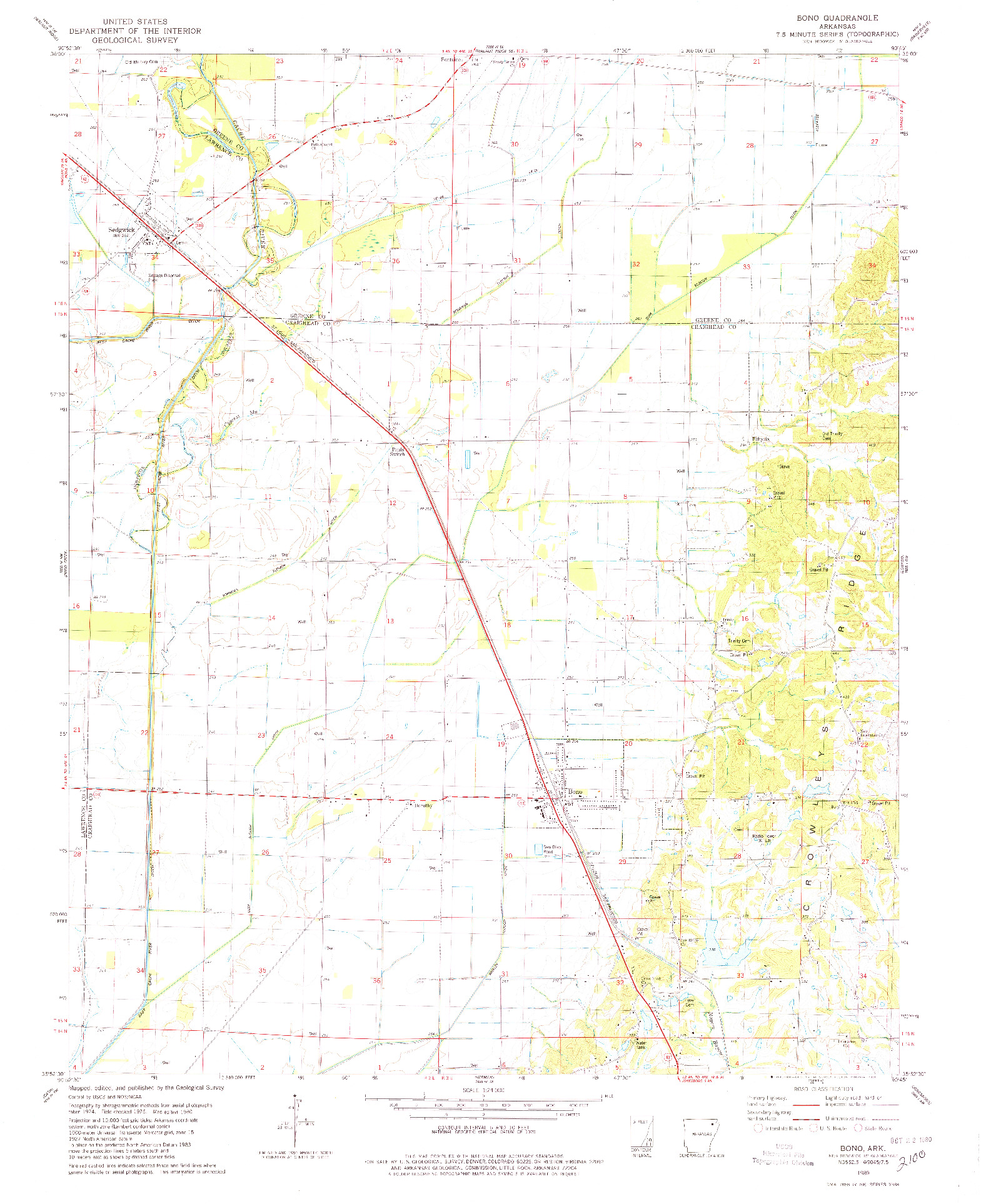 USGS 1:24000-SCALE QUADRANGLE FOR BONO, AR 1980