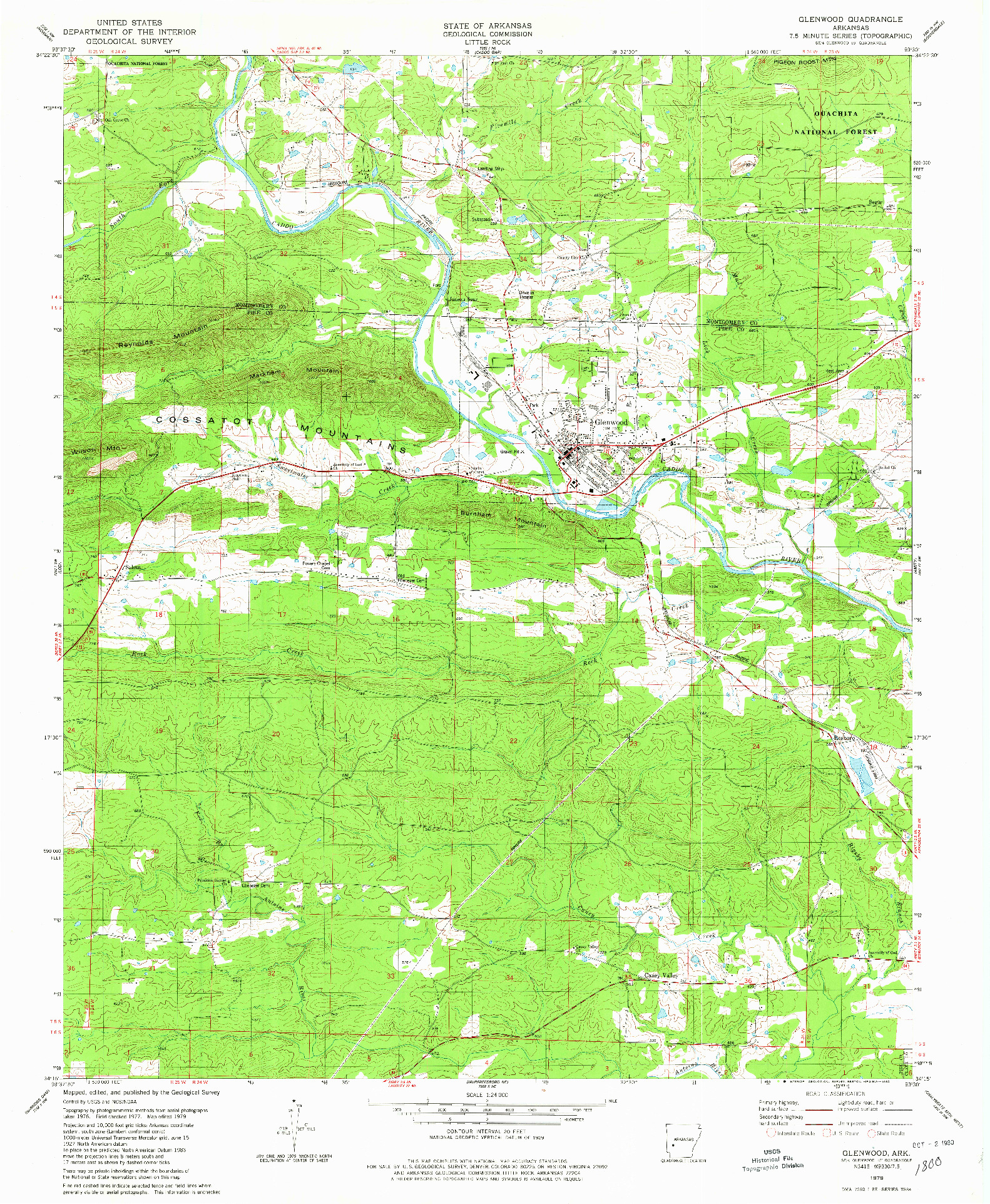 USGS 1:24000-SCALE QUADRANGLE FOR GLENWOOD, AR 1979