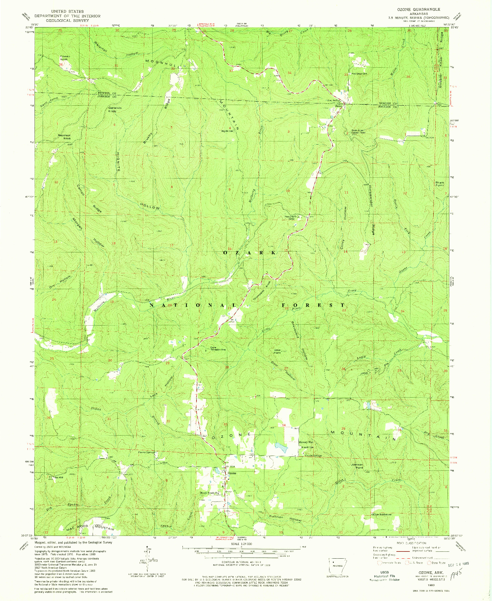 USGS 1:24000-SCALE QUADRANGLE FOR OZONE, AR 1980