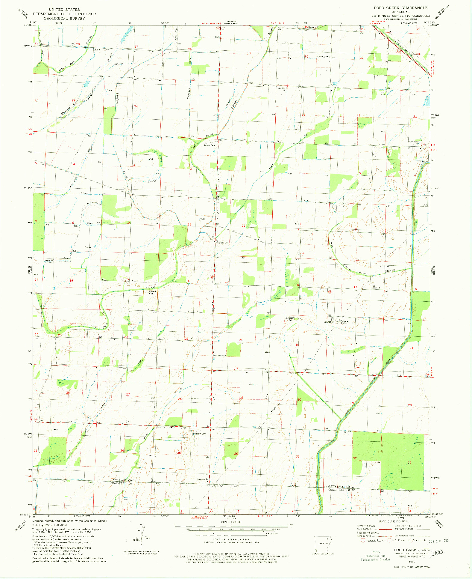 USGS 1:24000-SCALE QUADRANGLE FOR PODO CREEK, AR 1980