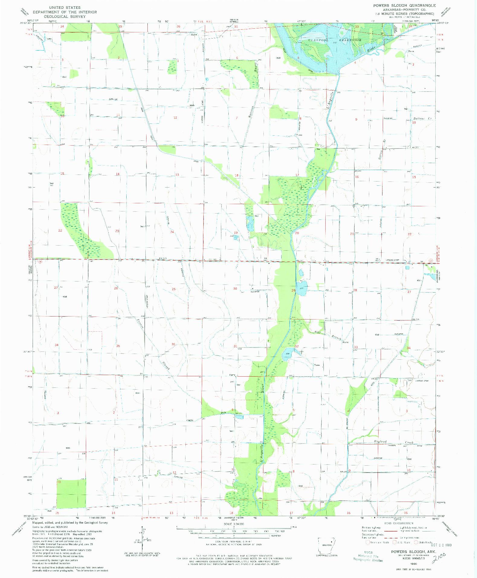 USGS 1:24000-SCALE QUADRANGLE FOR POWERS SLOUGH, AR 1980