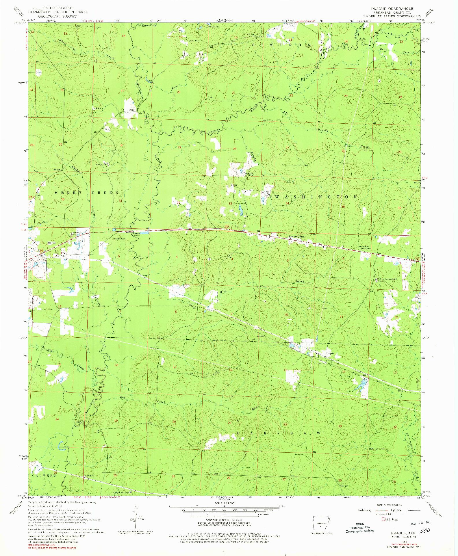 USGS 1:24000-SCALE QUADRANGLE FOR PRAGUE, AR 1964